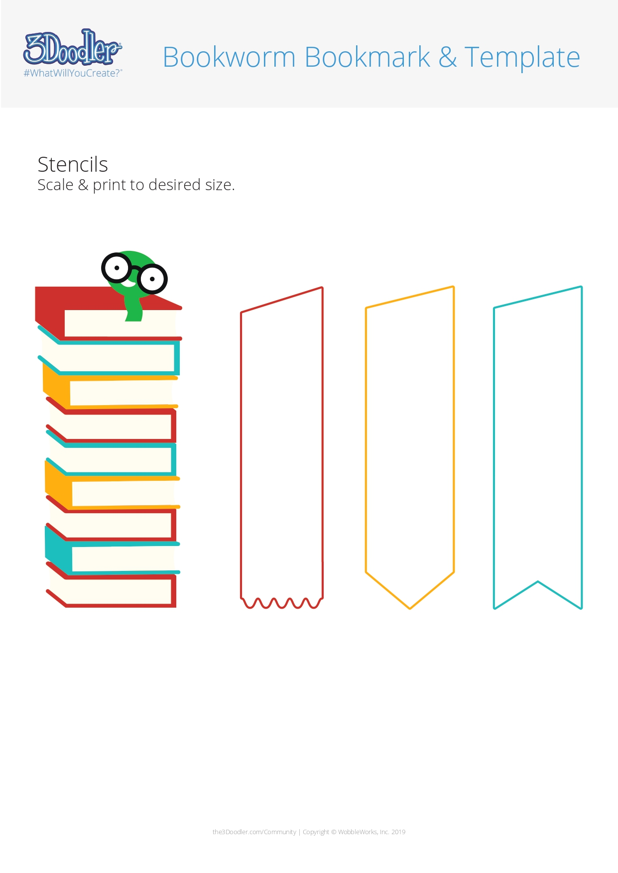 3D Pen Stencil Template Bookworm Bookmark