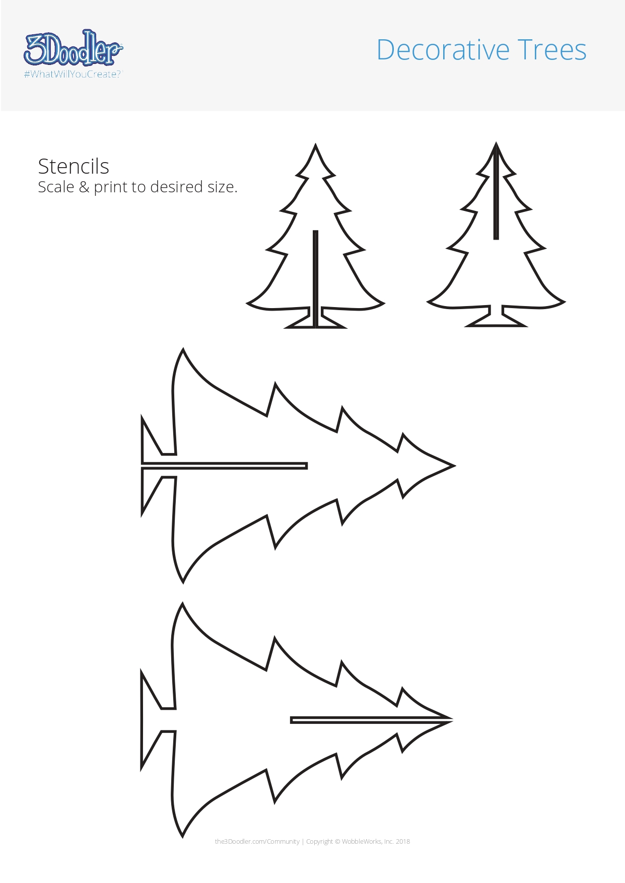 3D Pen Stencil Template Decorative Trees