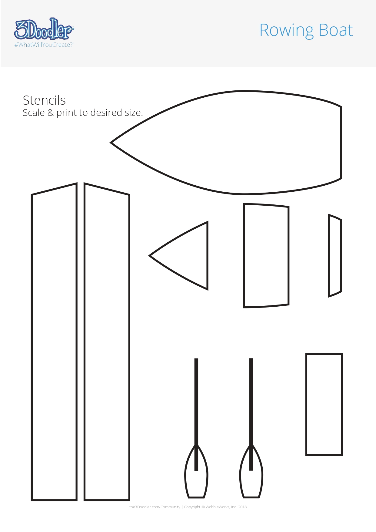 3D Pen Stencil Template Rowing Boats