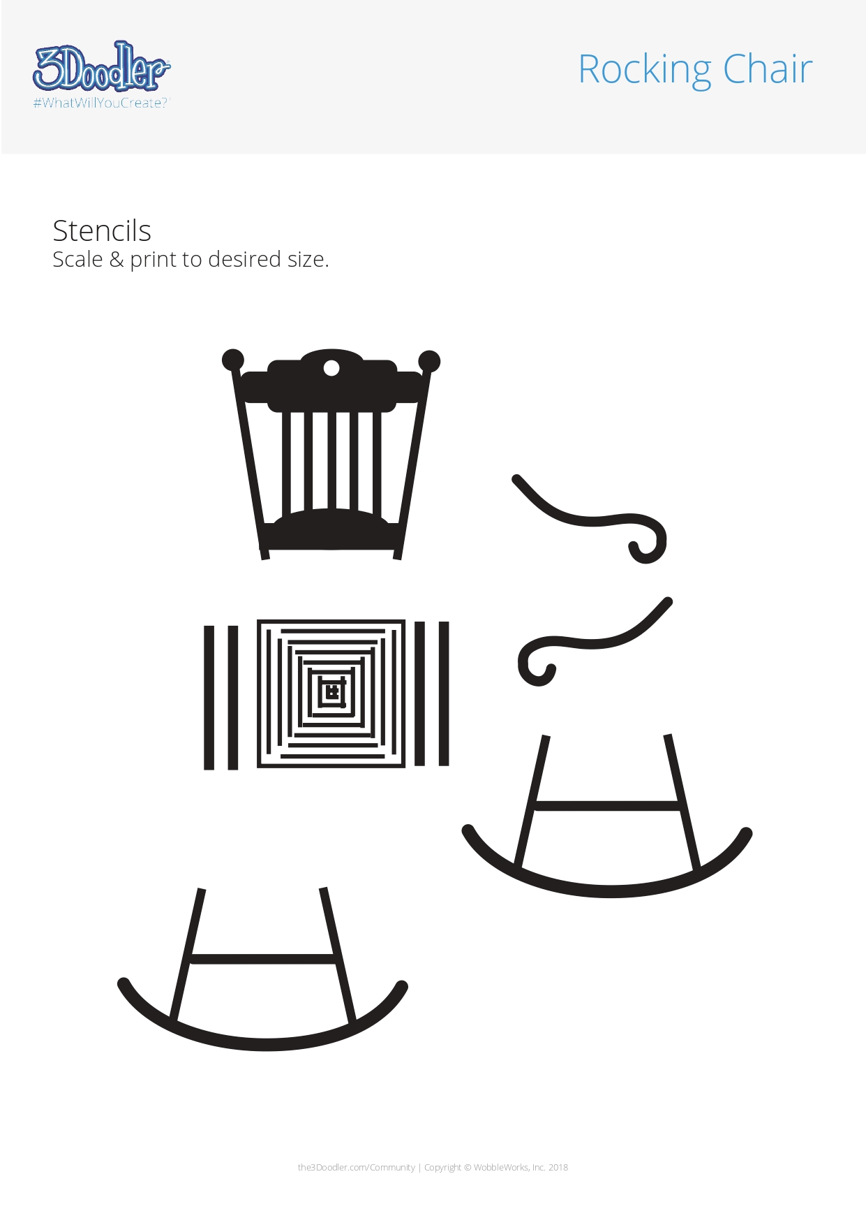 3D Pen Stencil Template Rocking Chair