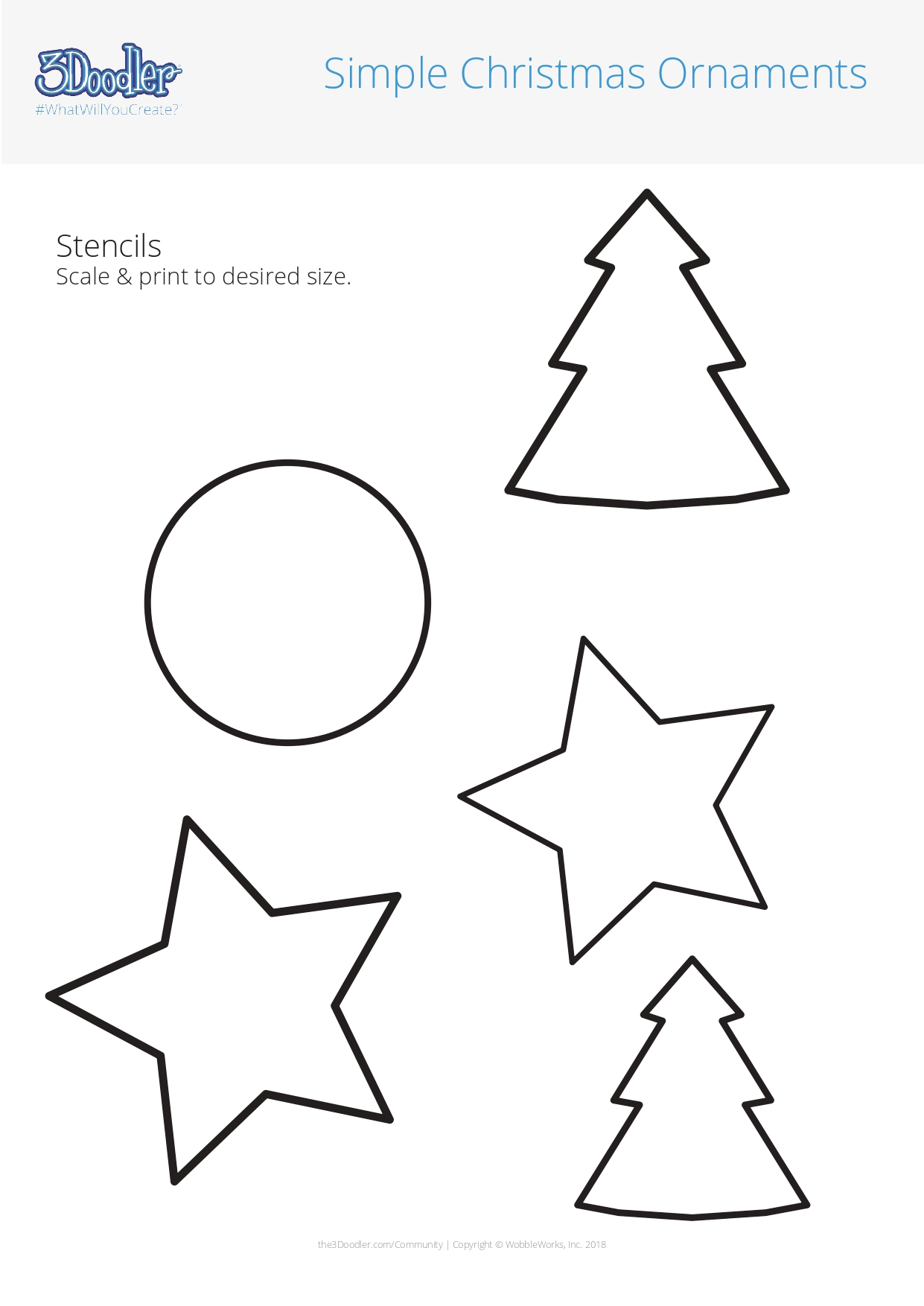 3D Pen Stencil Template Simple Holidays Ornaments