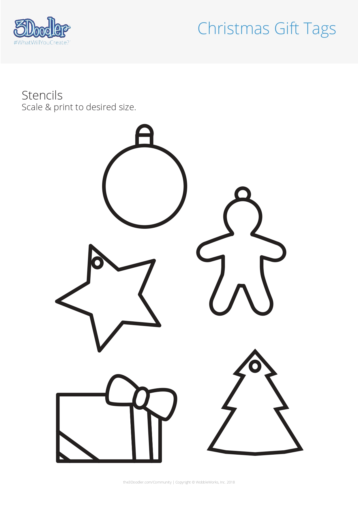 3D Pen Stencil Template Christmas Gift Tags