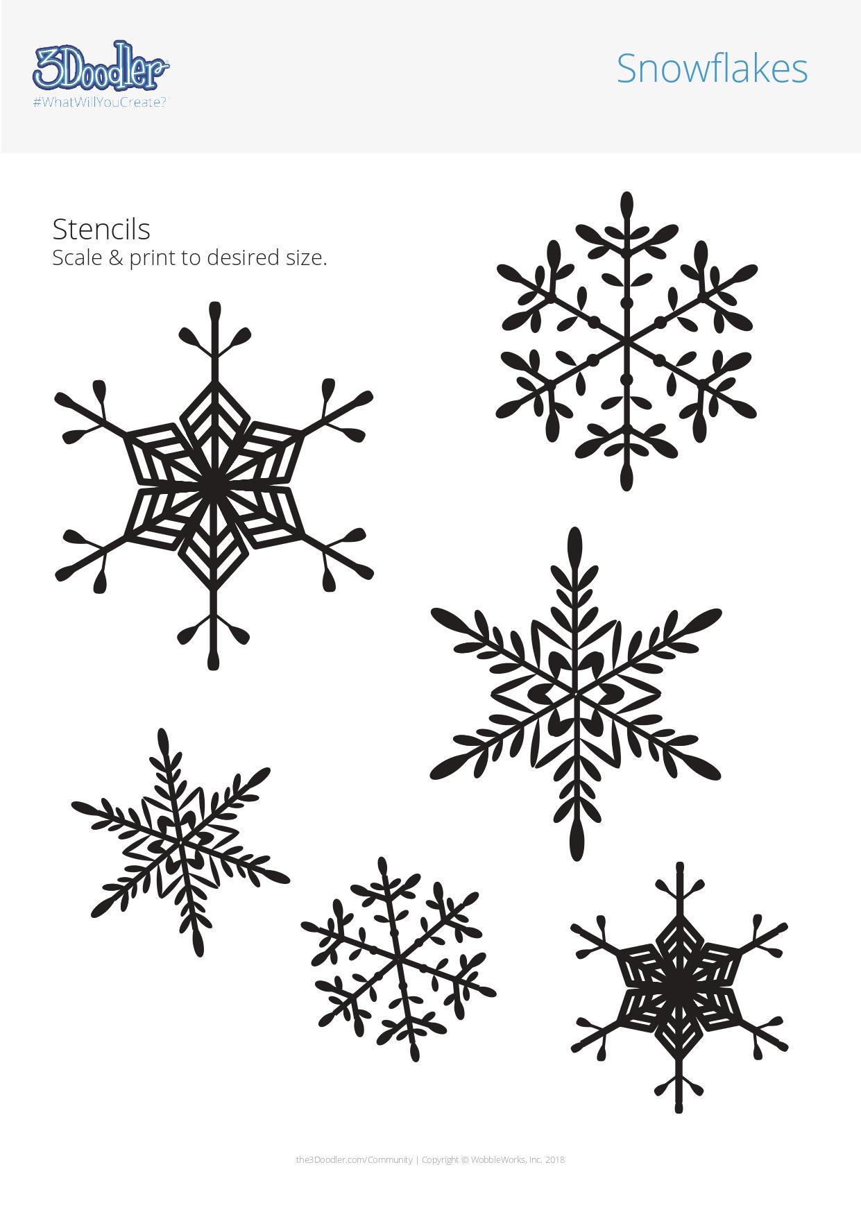 3D Pen Stencil Template Snowflakes