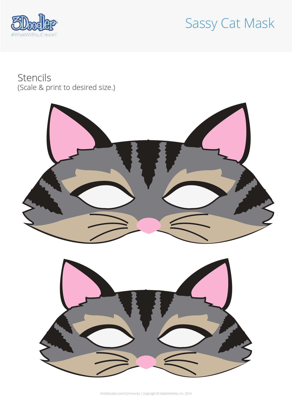 3D Pen Stencil Template Sassy Cat Mask