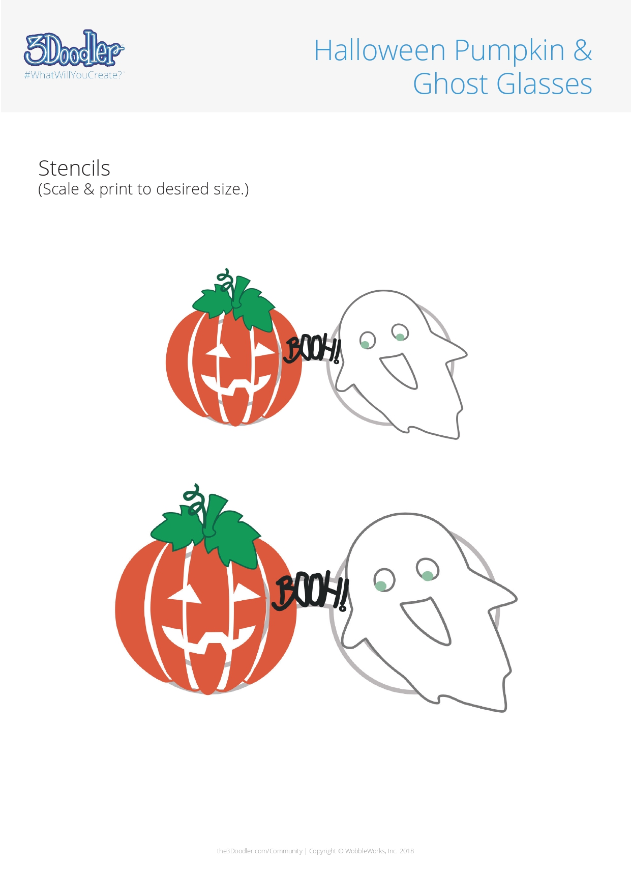 3D Pen Stencil Template Pumpkin & Ghost Glasses