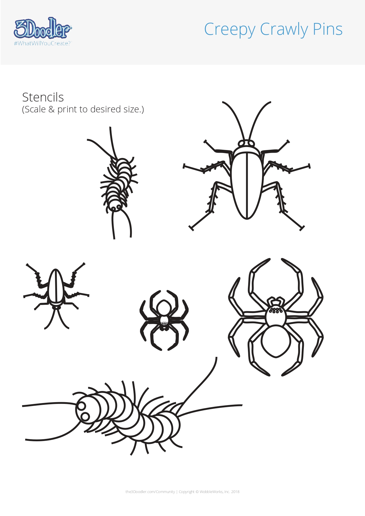 3D Pen Stencil Template Creepy Crawly Pins