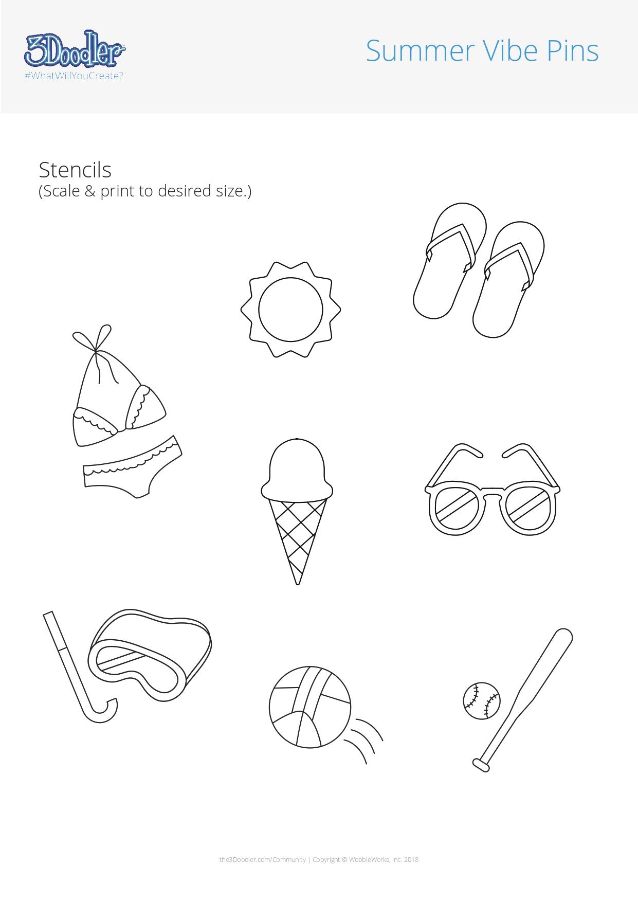 3D Pen Stencil Template Summer Vibe Pins