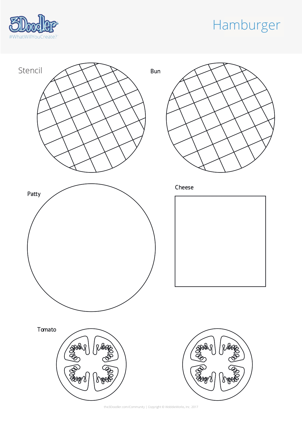 3D Pen Stencil Template Hamburger