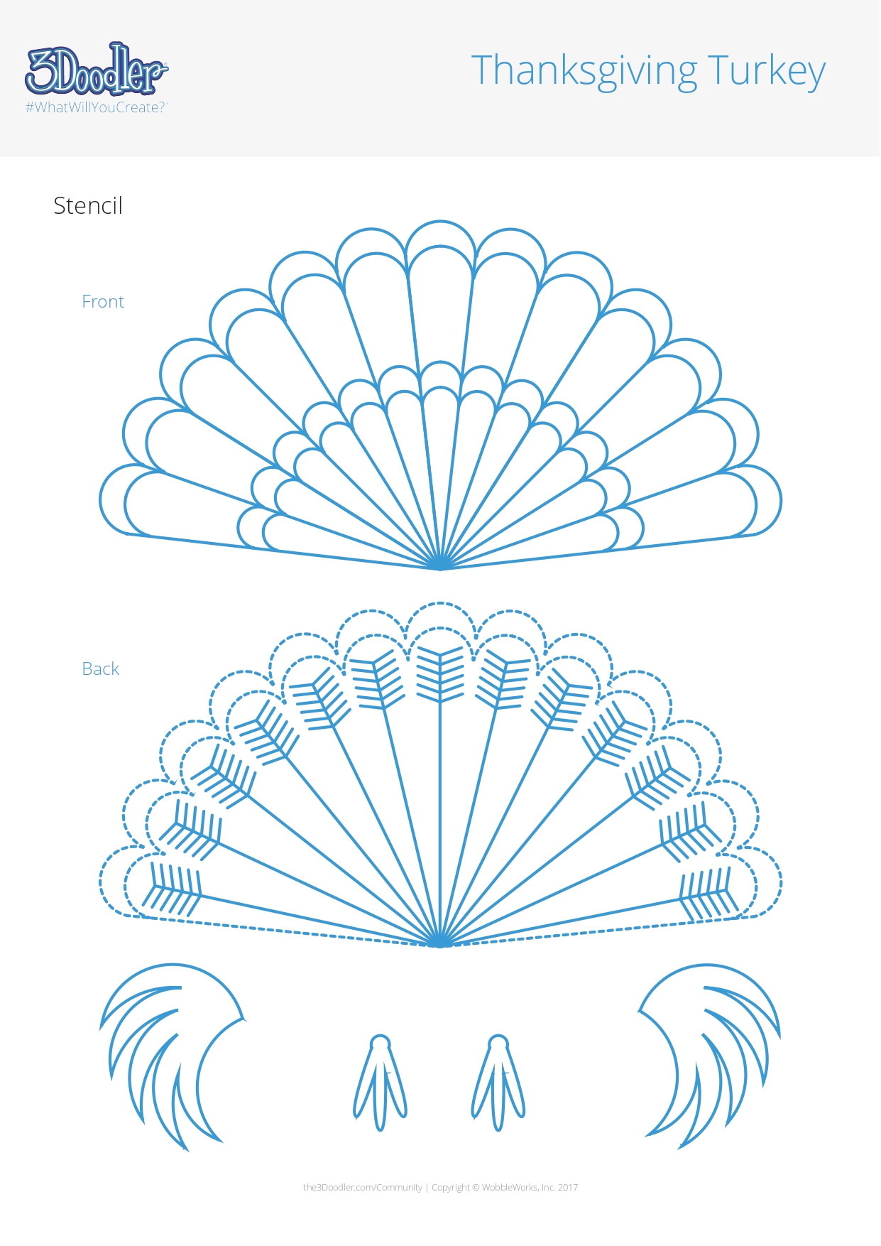 3D Pen Stencil Template Thanksgiving Turkey