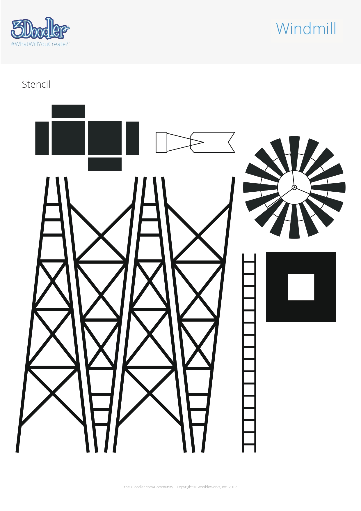 3D Pen Stencil Template Windmill