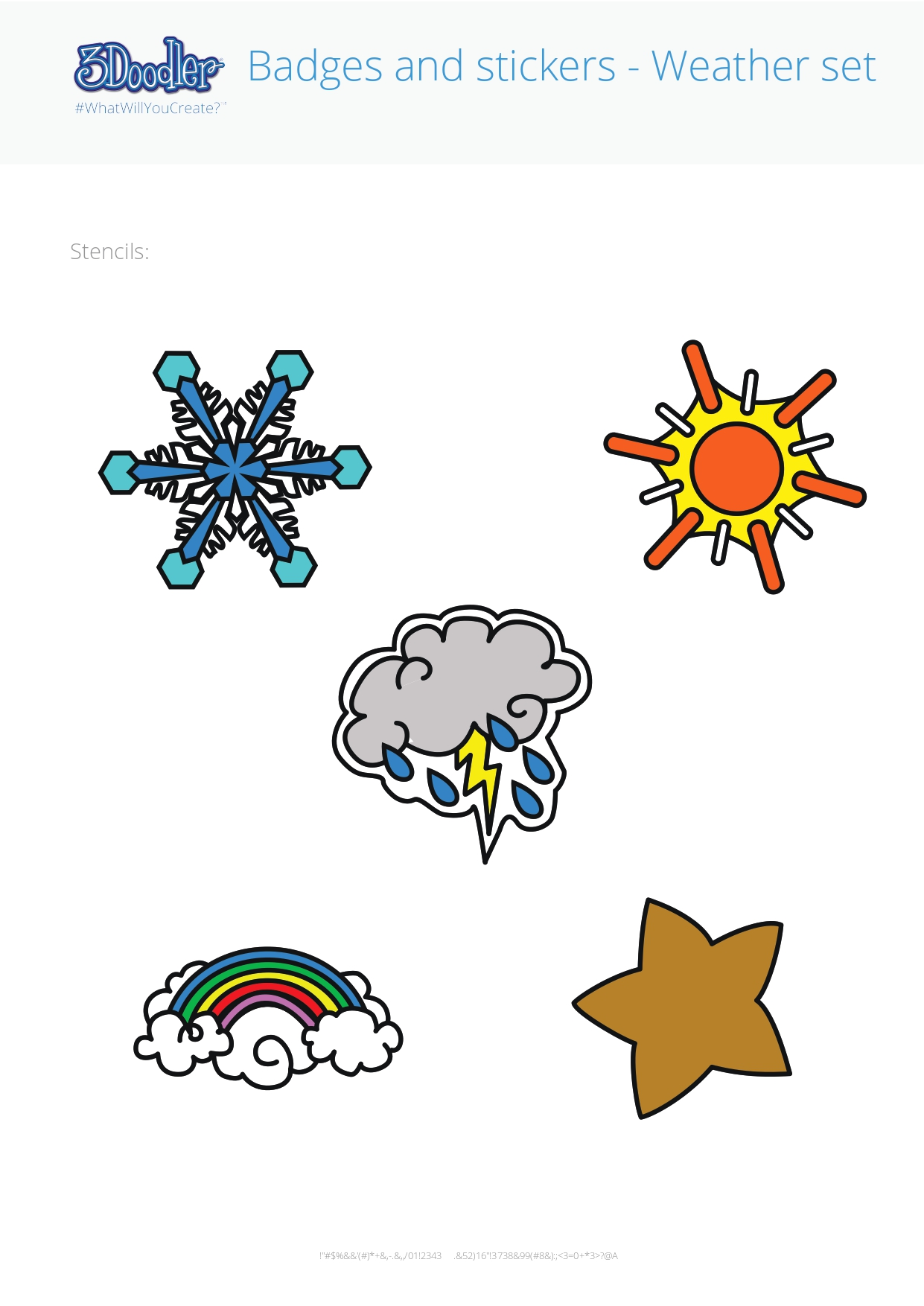 3D Pen Stencil Template Badges – Weather