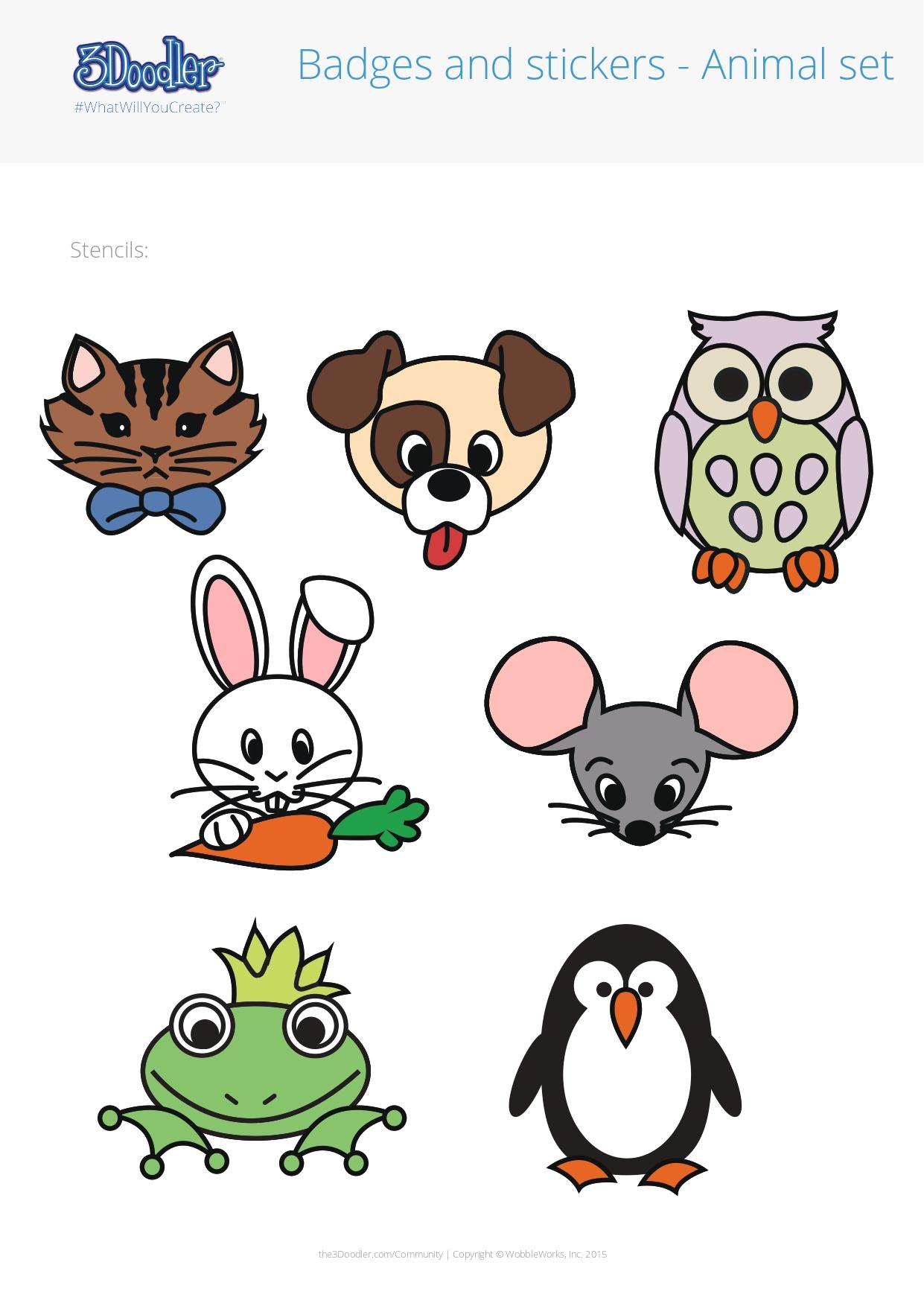 3D Pen Stencil Template Badges – Animals