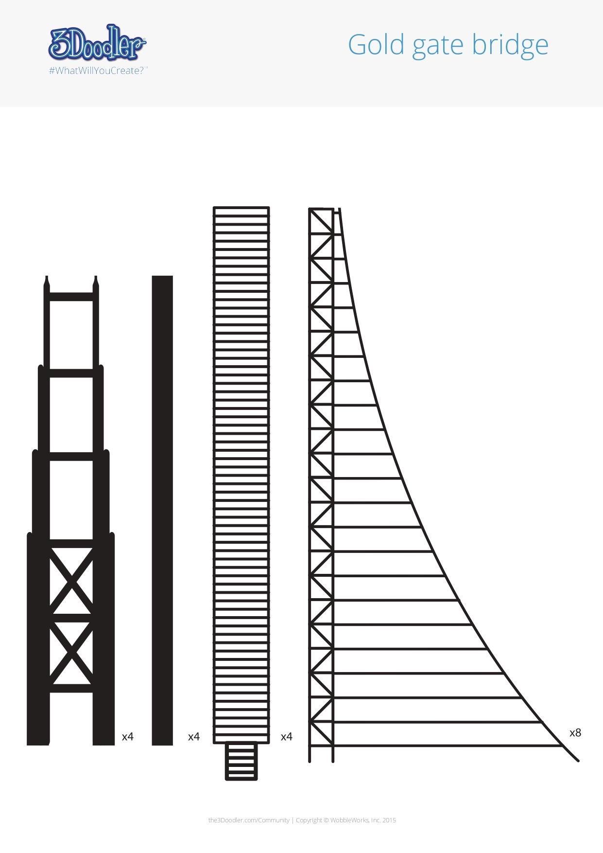 3D Pen Stencil Template Golden Gate Bridge