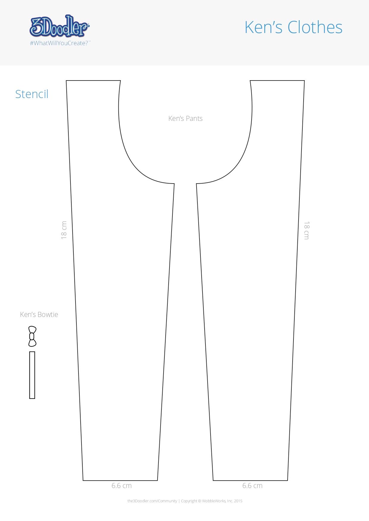 3D Pen Stencil Template Ken's clothes