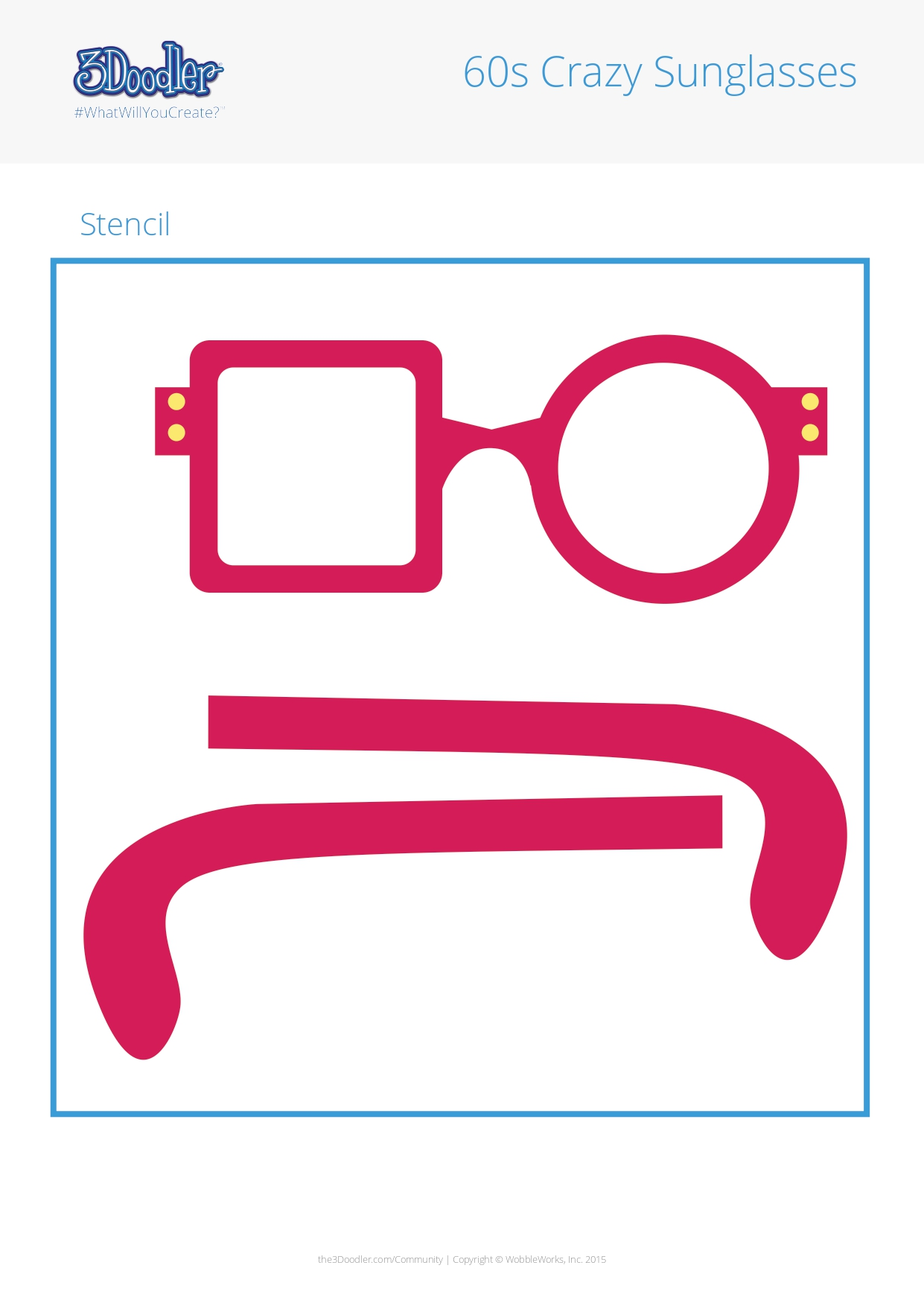 3D Pen Stencil Template 60s Crazy Sunglasses