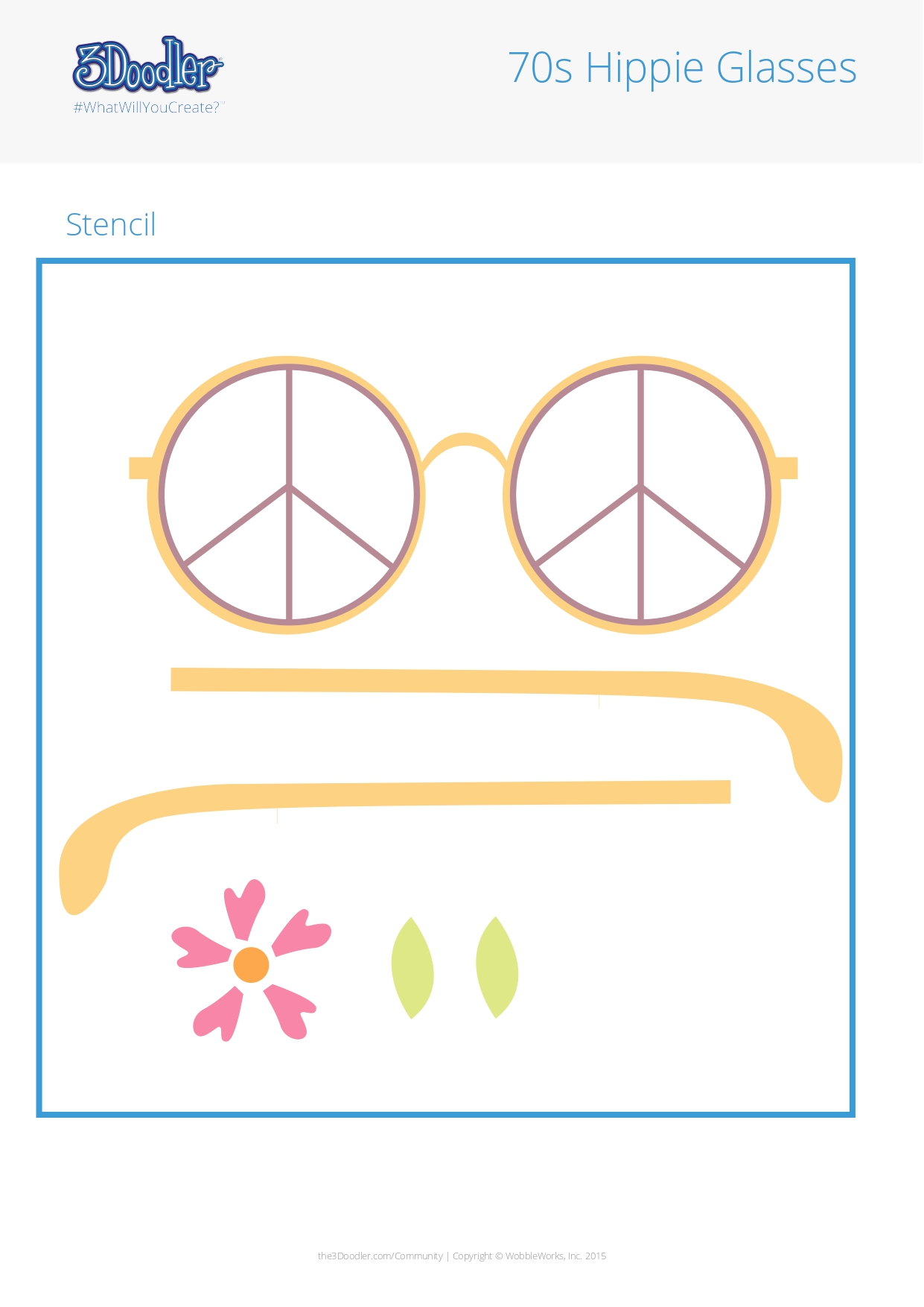3D Pen Stencil Template 70s Hippie Glasses