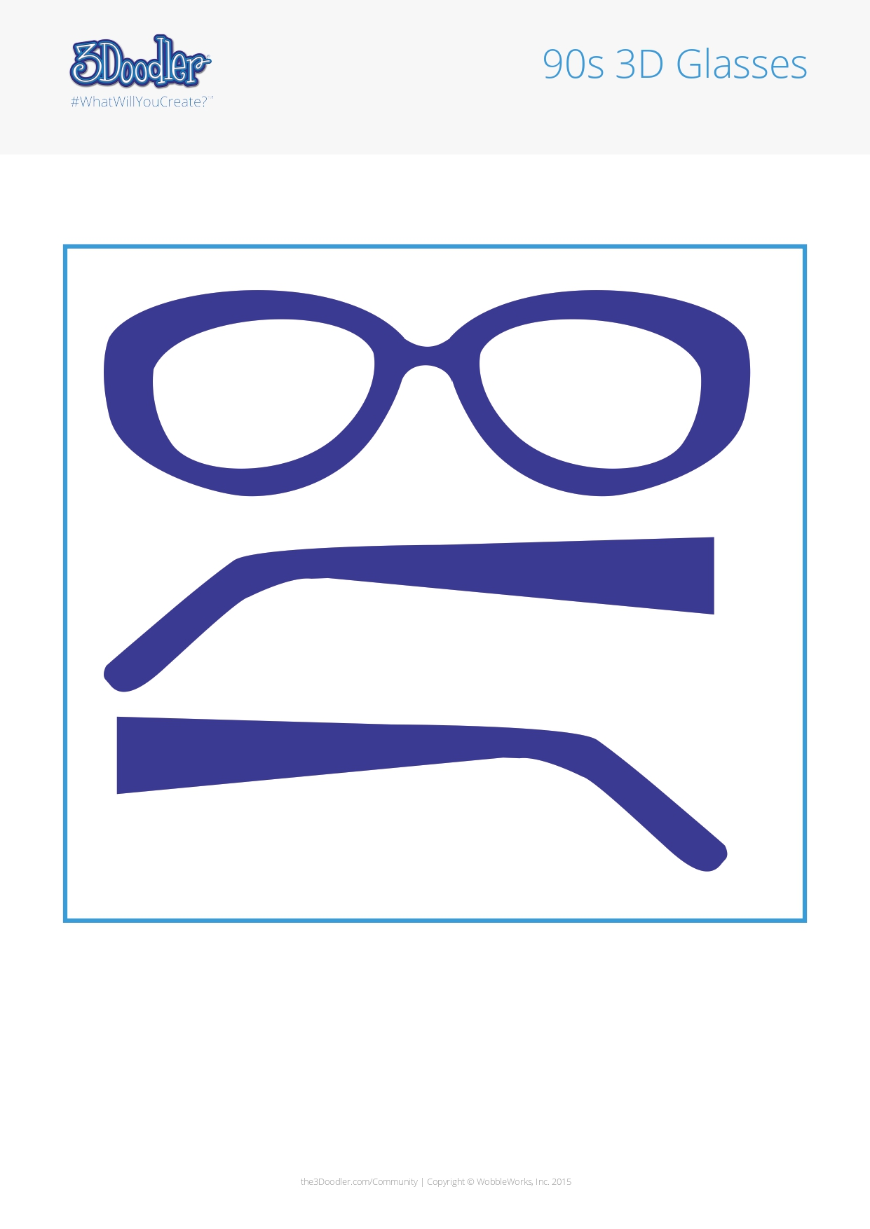 3D Pen Stencil Template 90s 3D Glasses