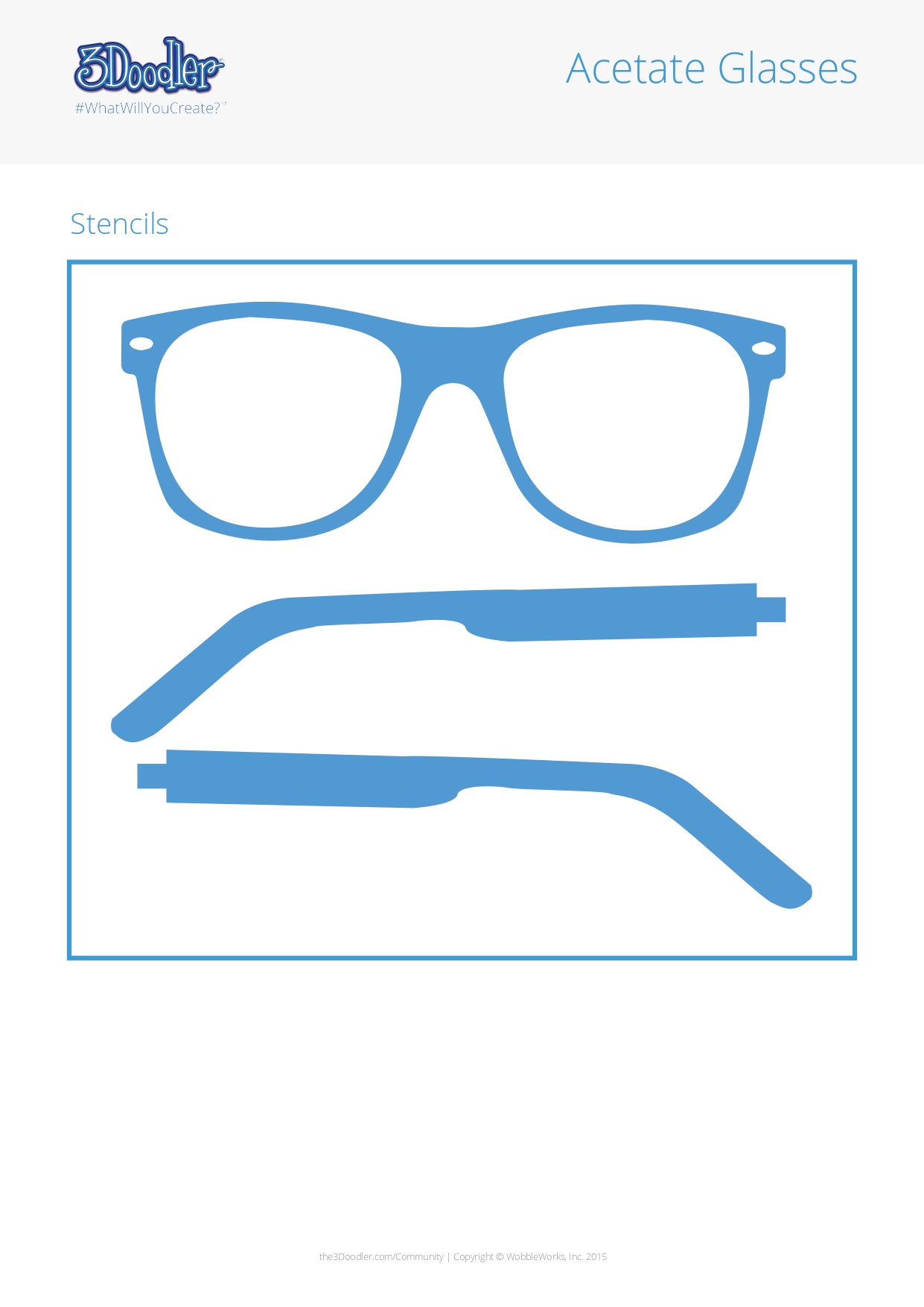 3D Pen Stencil Template Acetate Glasses