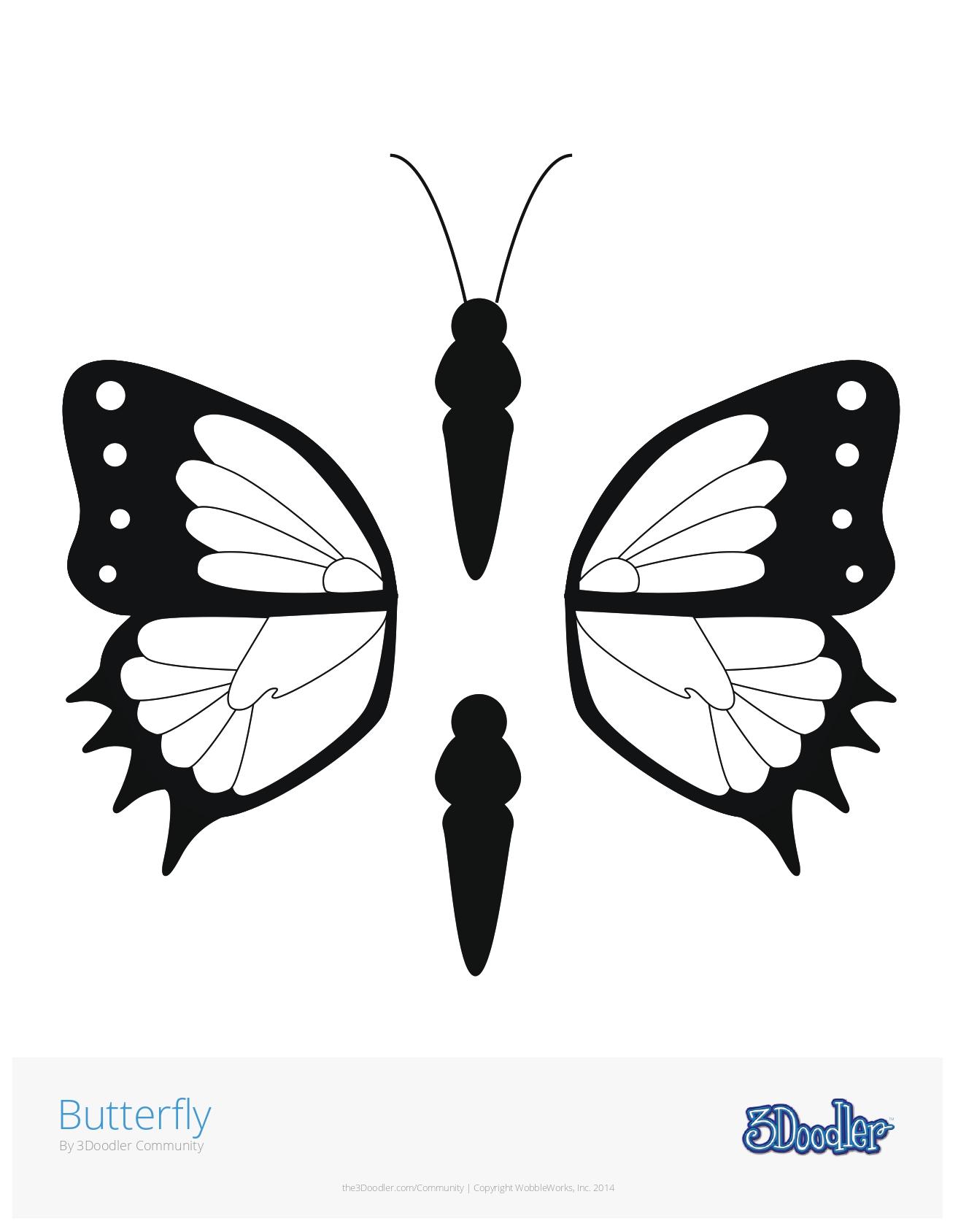 3D Pen Stencil Template Butterfly #2