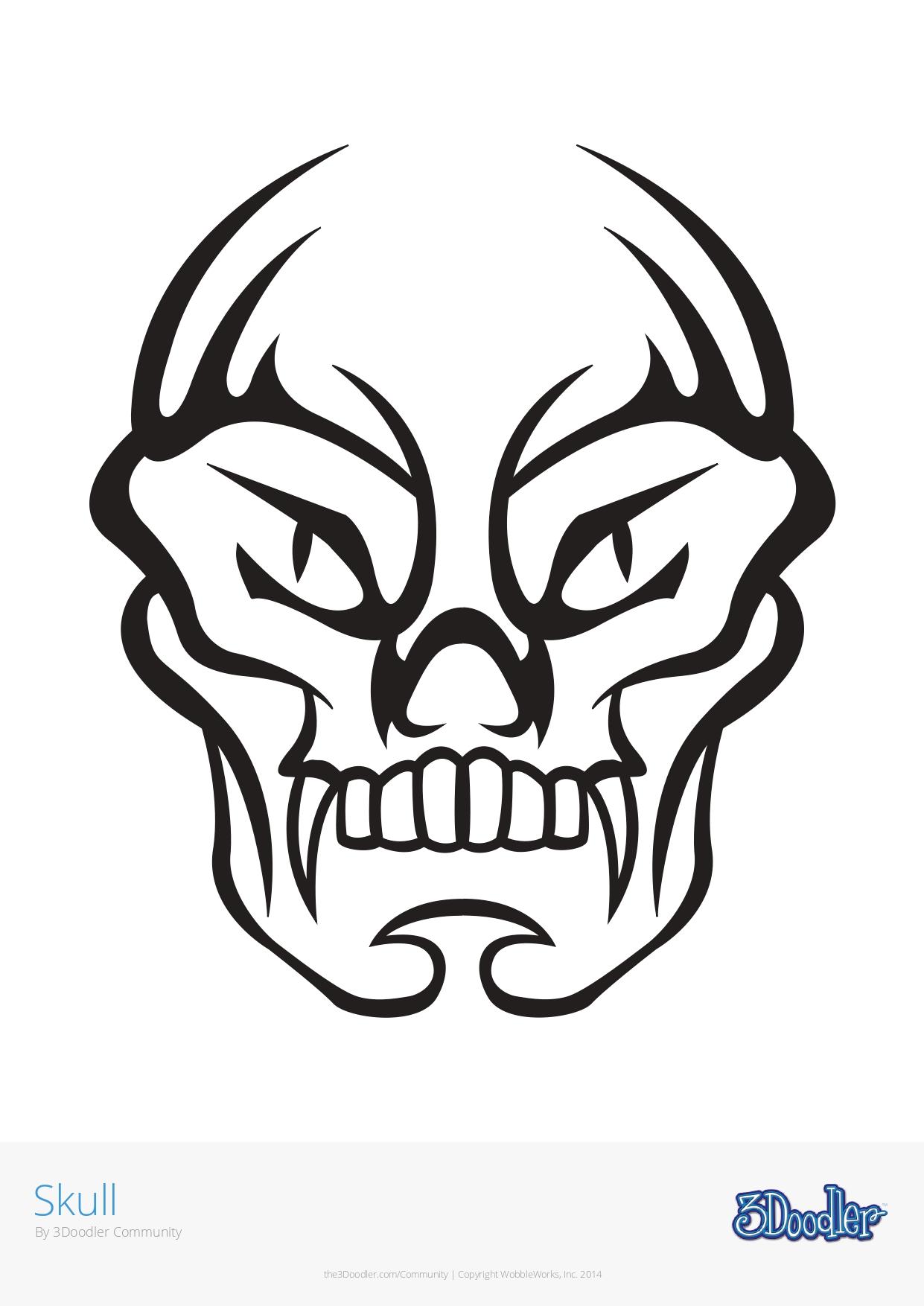 3D Pen Stencil Template Skull 2