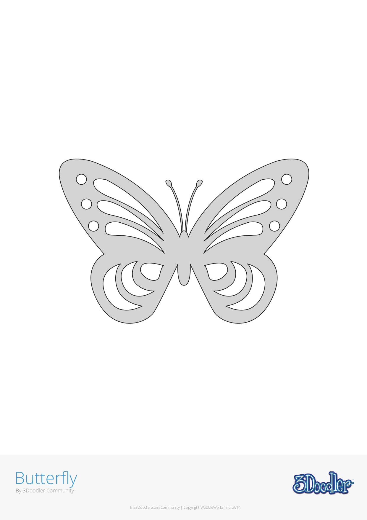 3D Pen Stencil Template Butterfly #3
