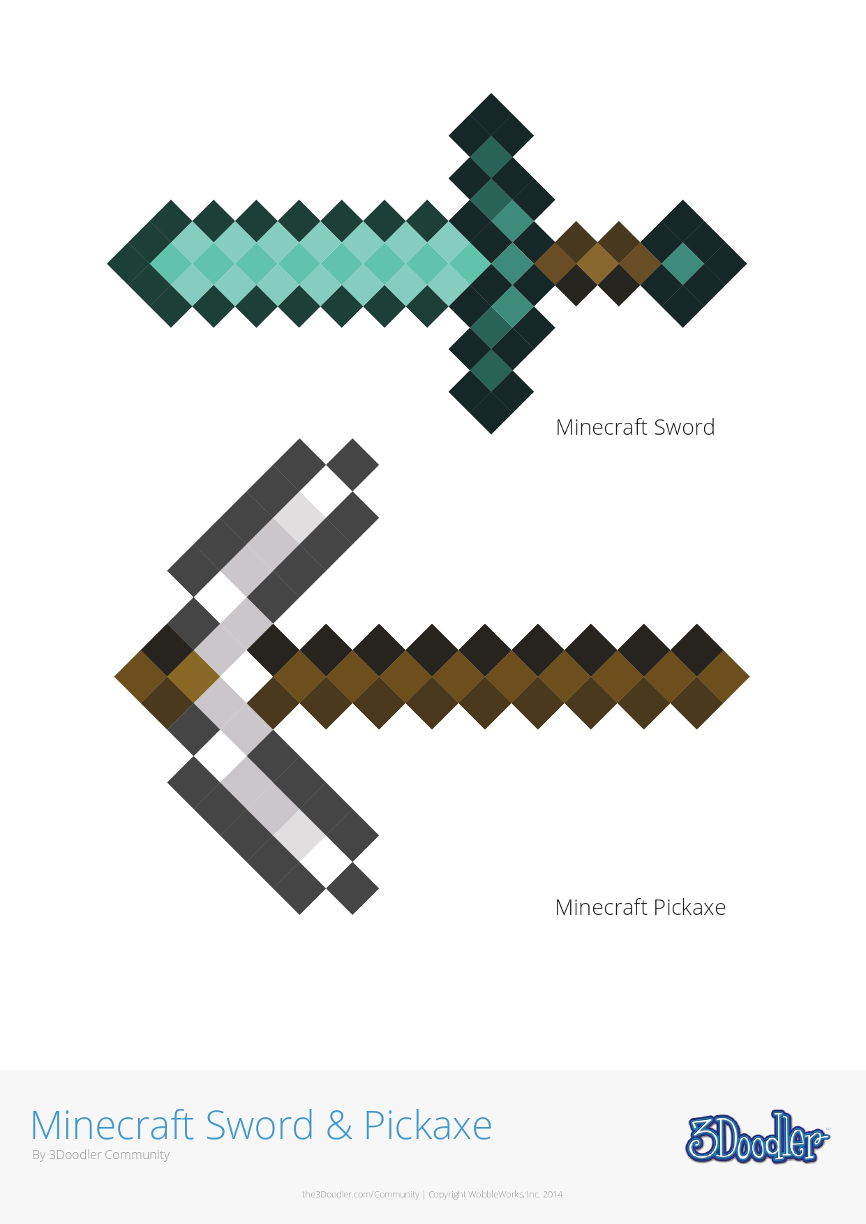 3D Pen Stencil Template Minecraft Sword & Pickaxe