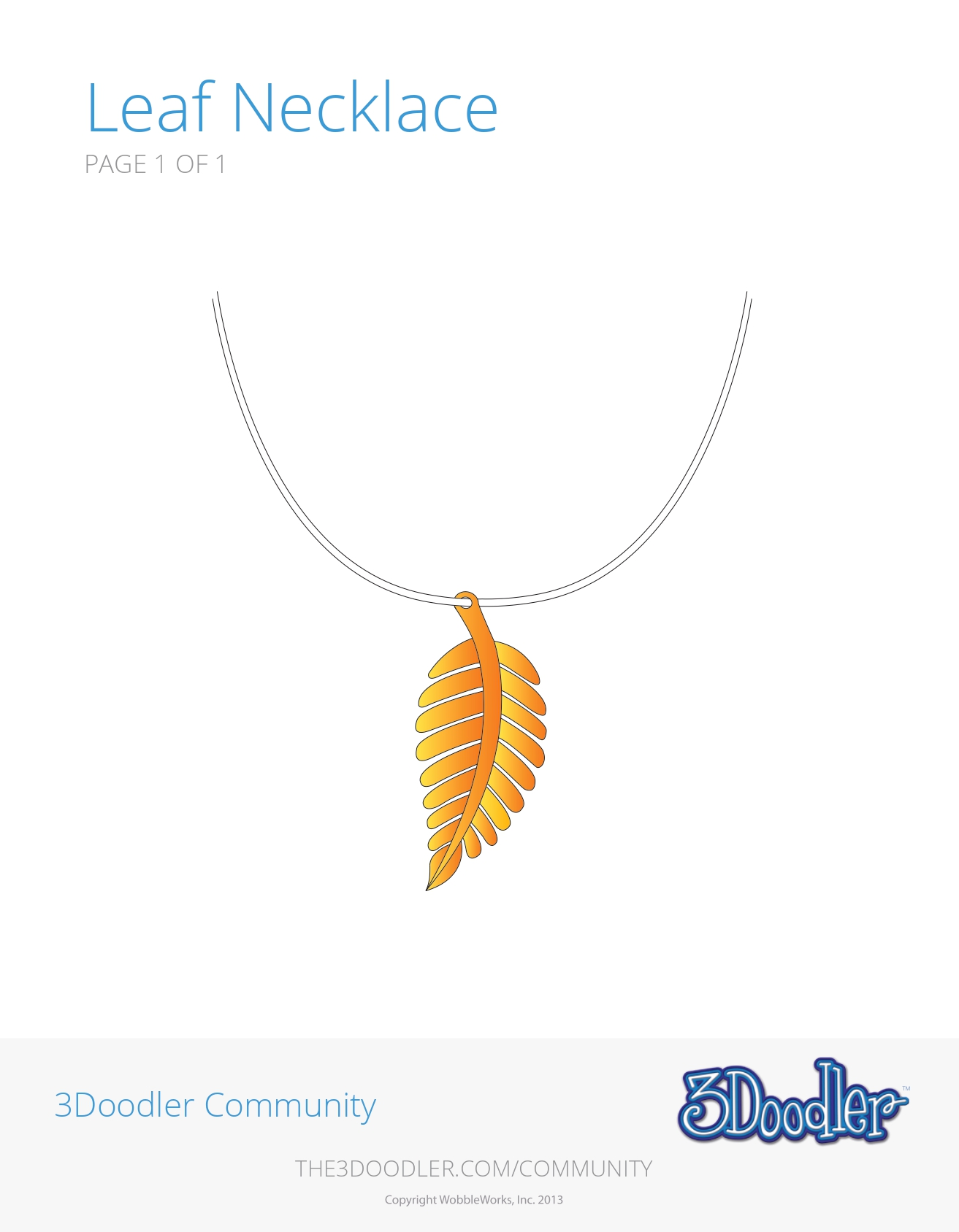 3D Pen Stencil Template Leaf Necklace