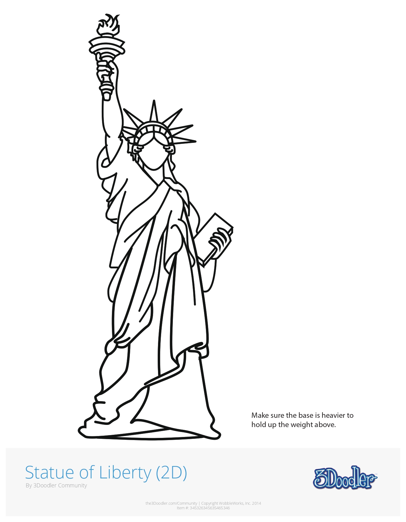 3D Pen Stencil Template Lady Liberty