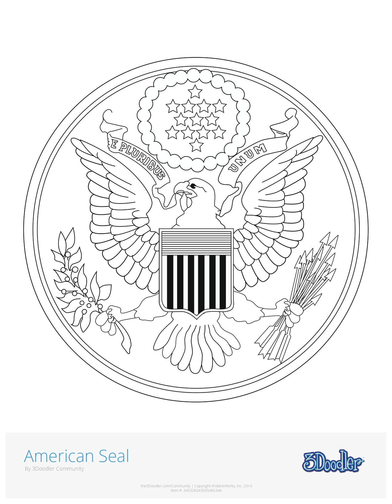 3D Pen Stencil Template The Great Seal