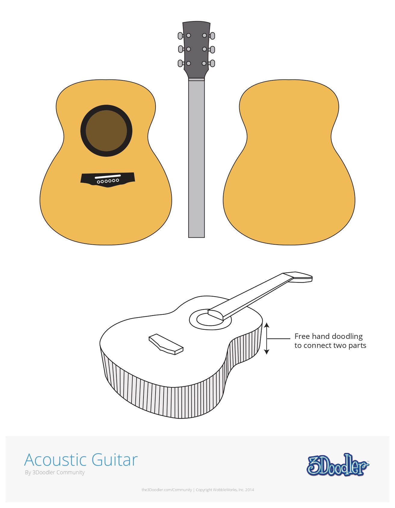 3D Pen Stencil Template Acoustic Guitar
