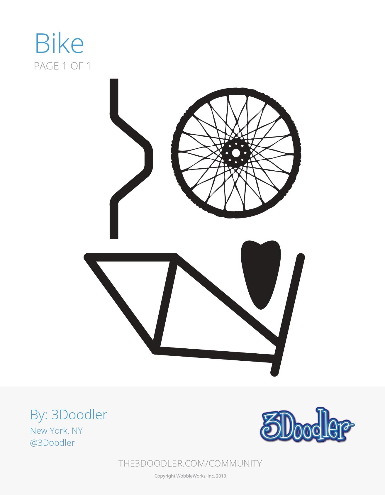 3D Pen Stencil Template Bike