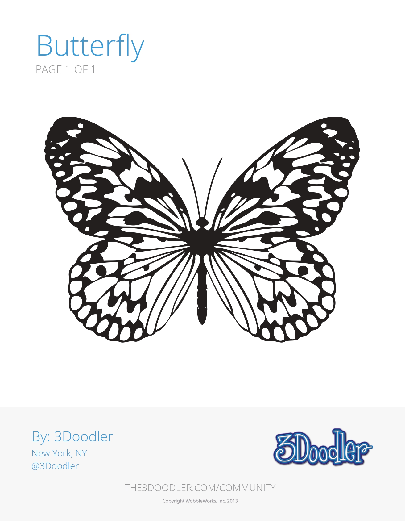 3D Pen Stencil Template Butterfly