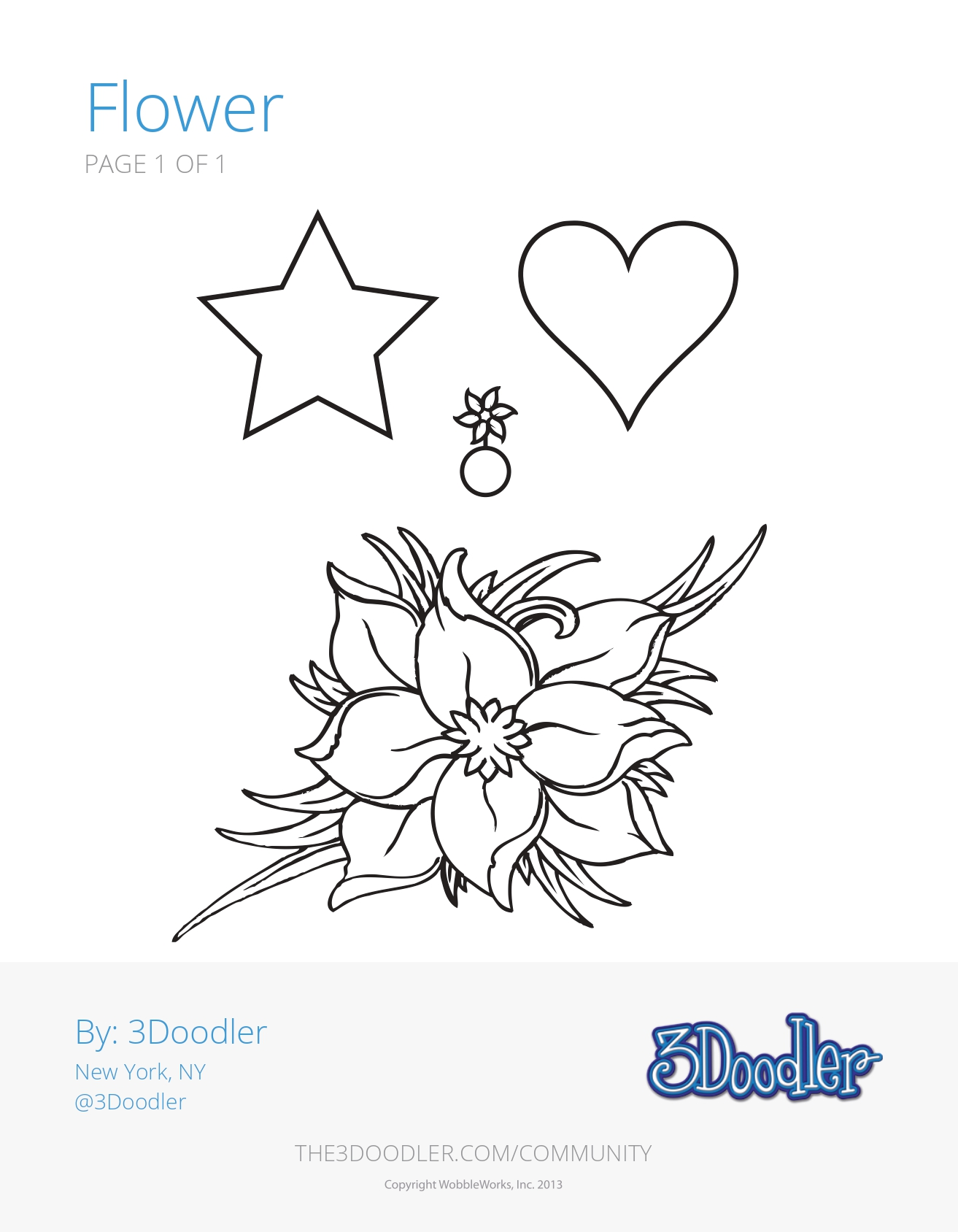 3D Pen Stencil Template Flower