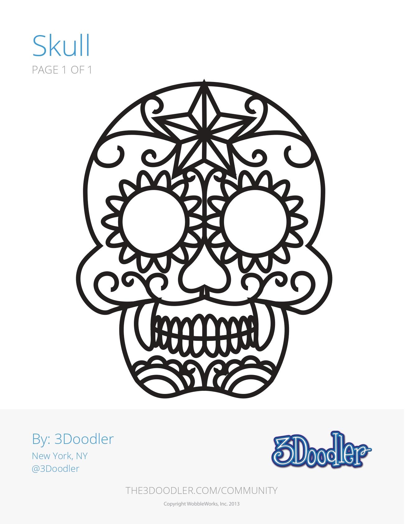 3D Pen Stencil Template Skull