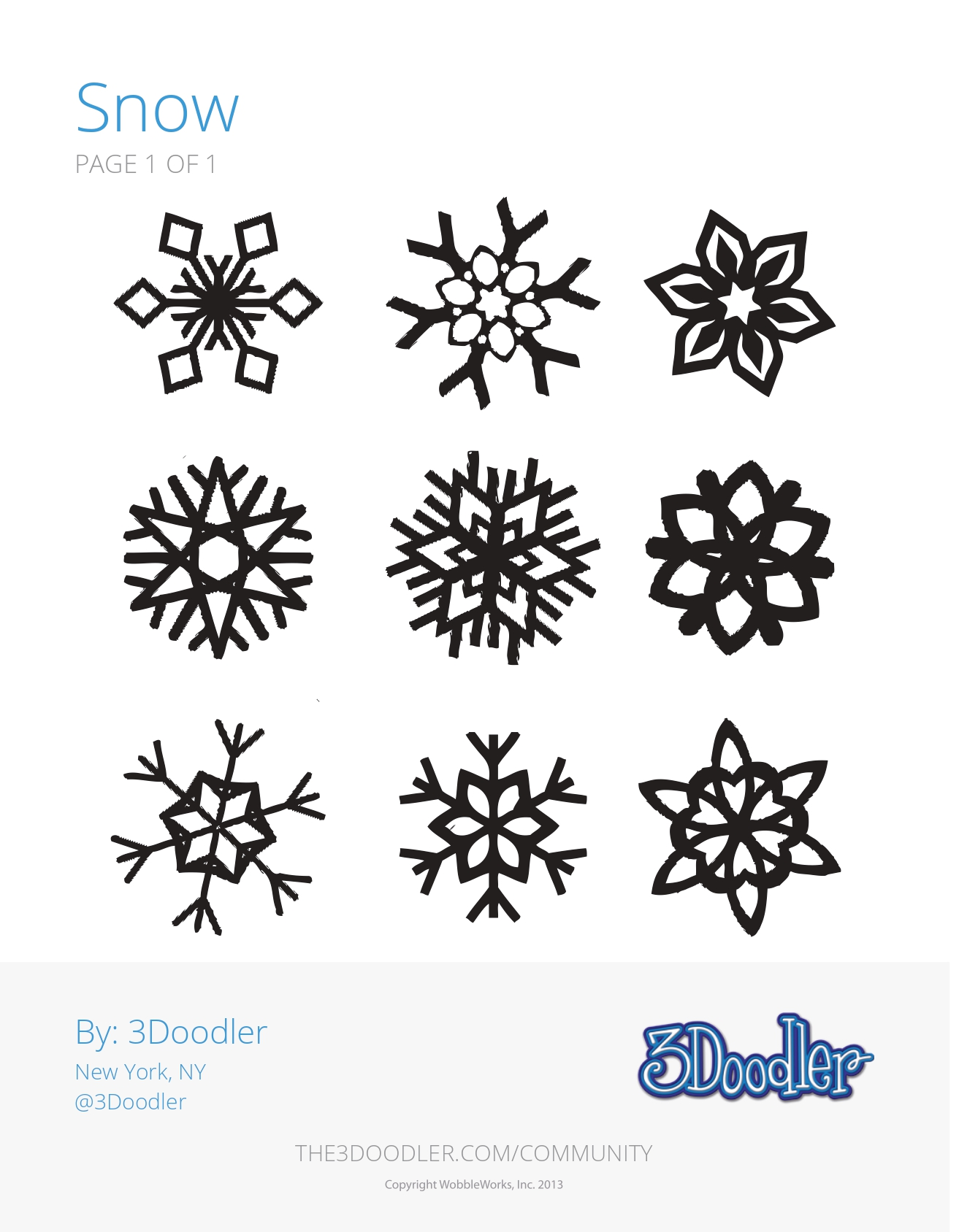 3D Pen Stencil Template Snow
