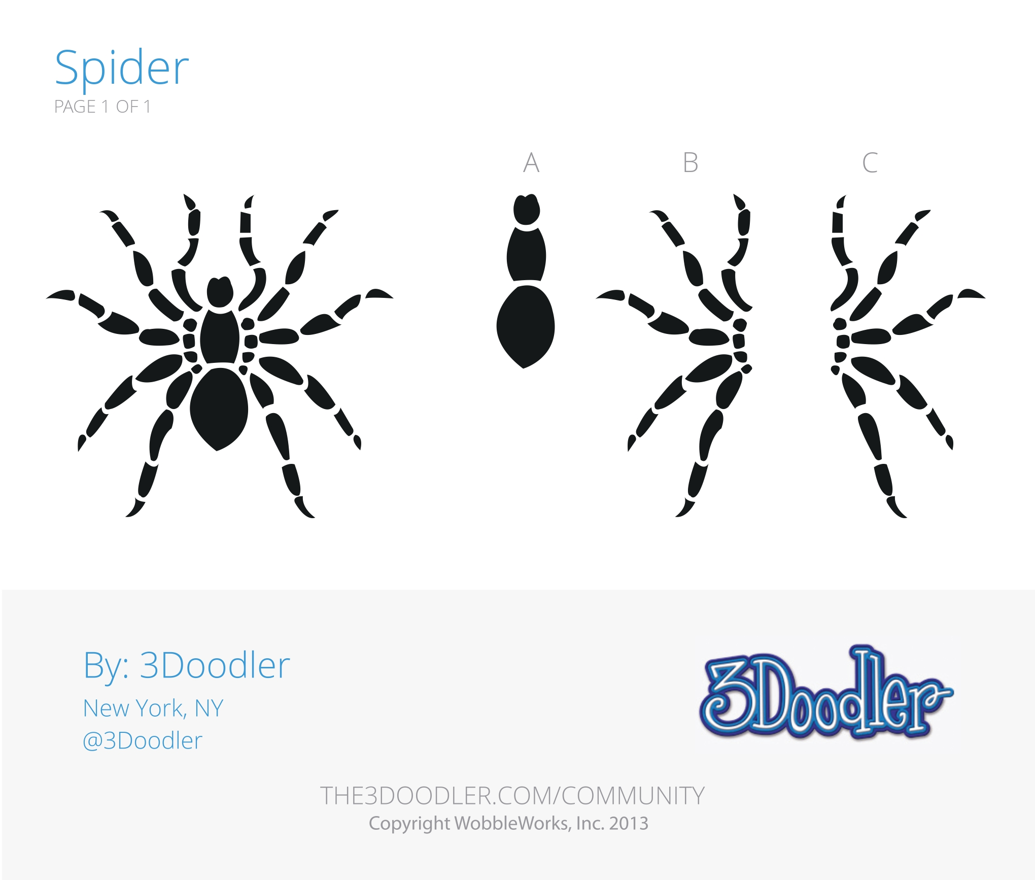 3D Pen Stencil Template Spider 3