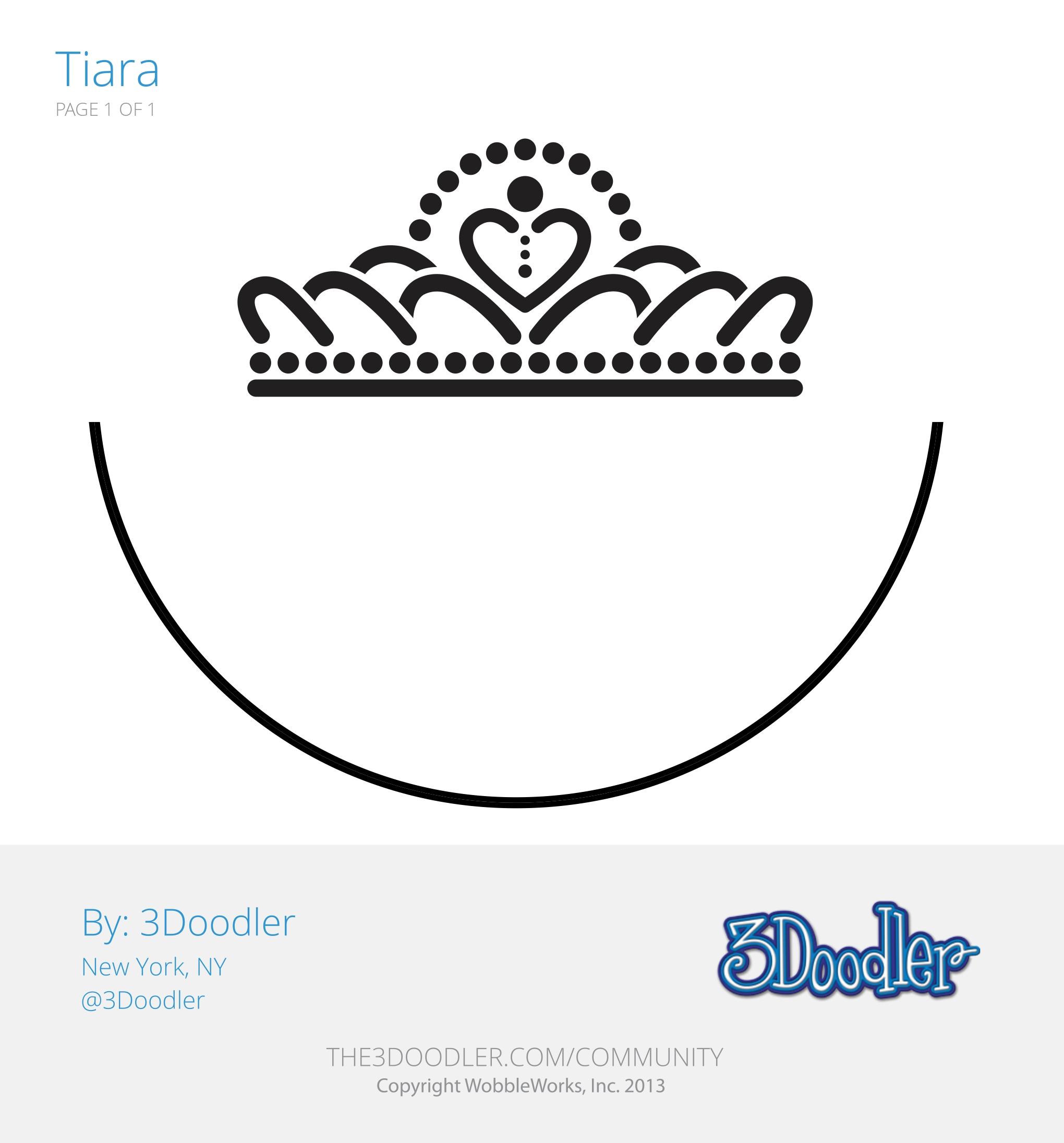 3D Pen Stencil Template Tiara