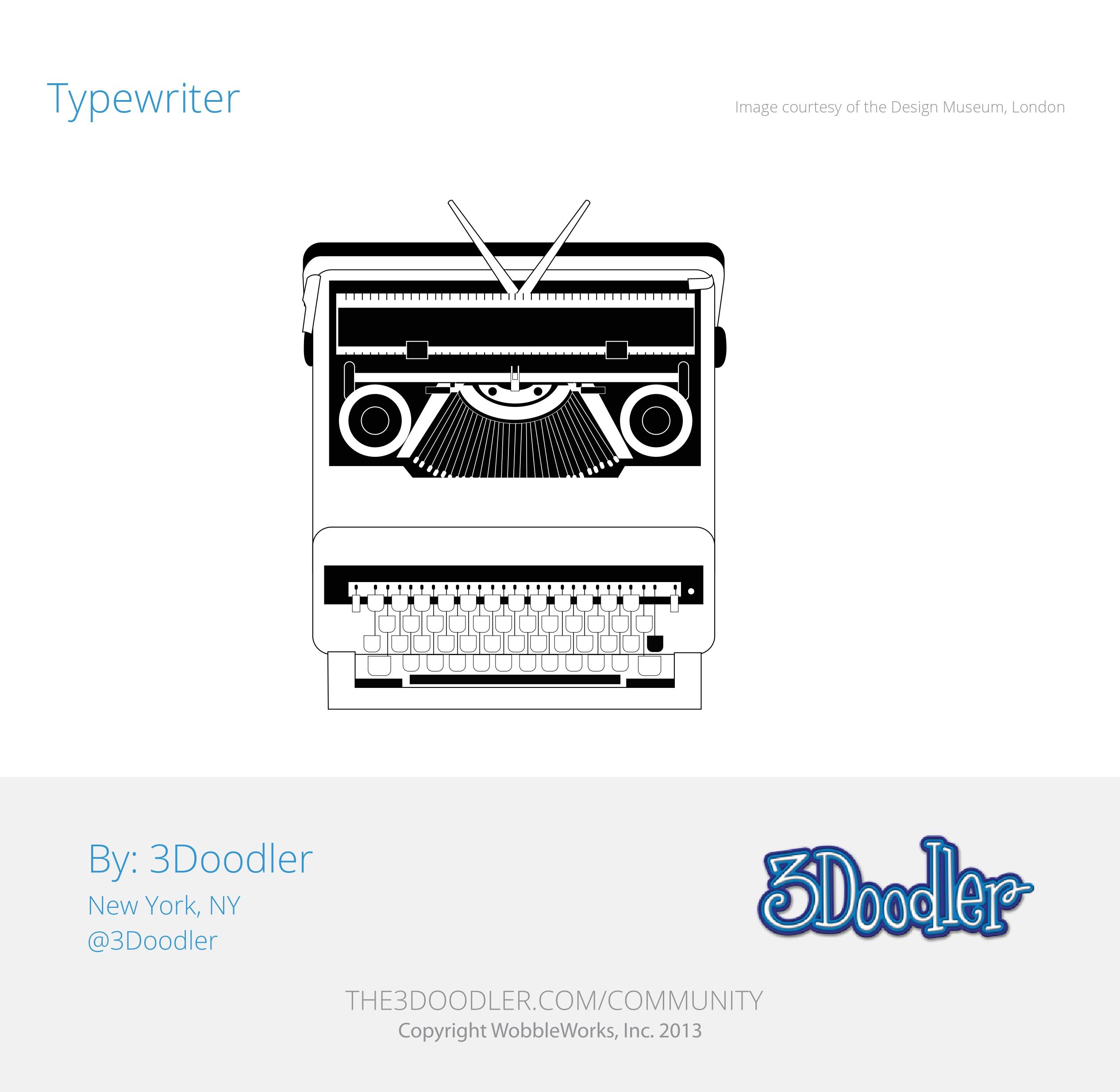 3D Pen Stencil Template Valentine Typewriter