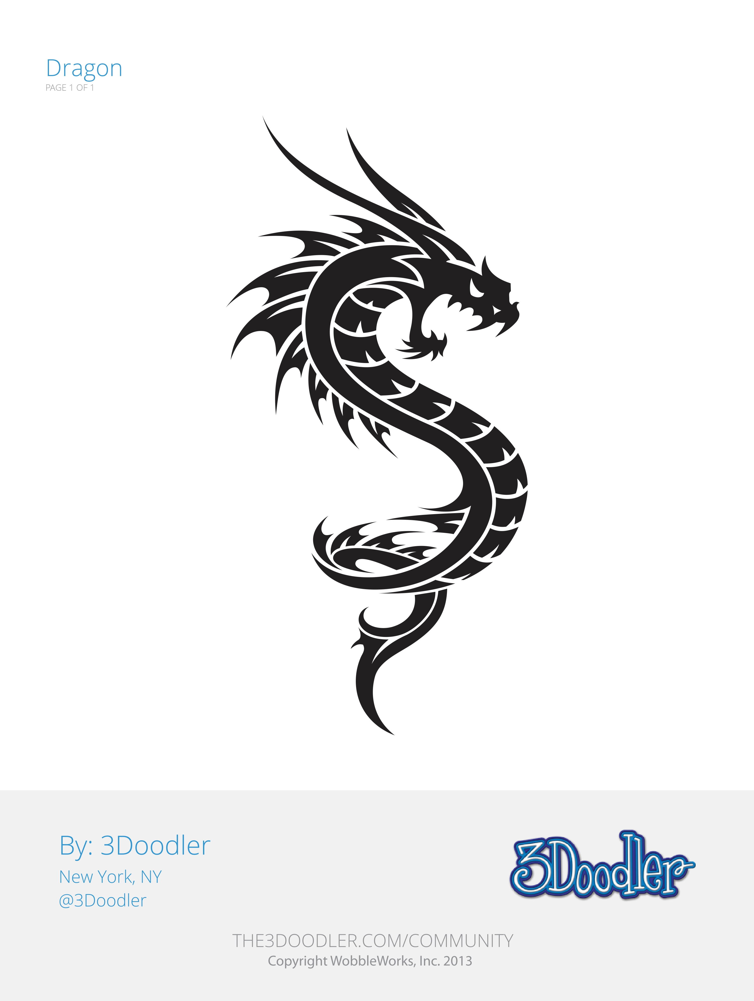 3D Pen Stencil Template Dragon