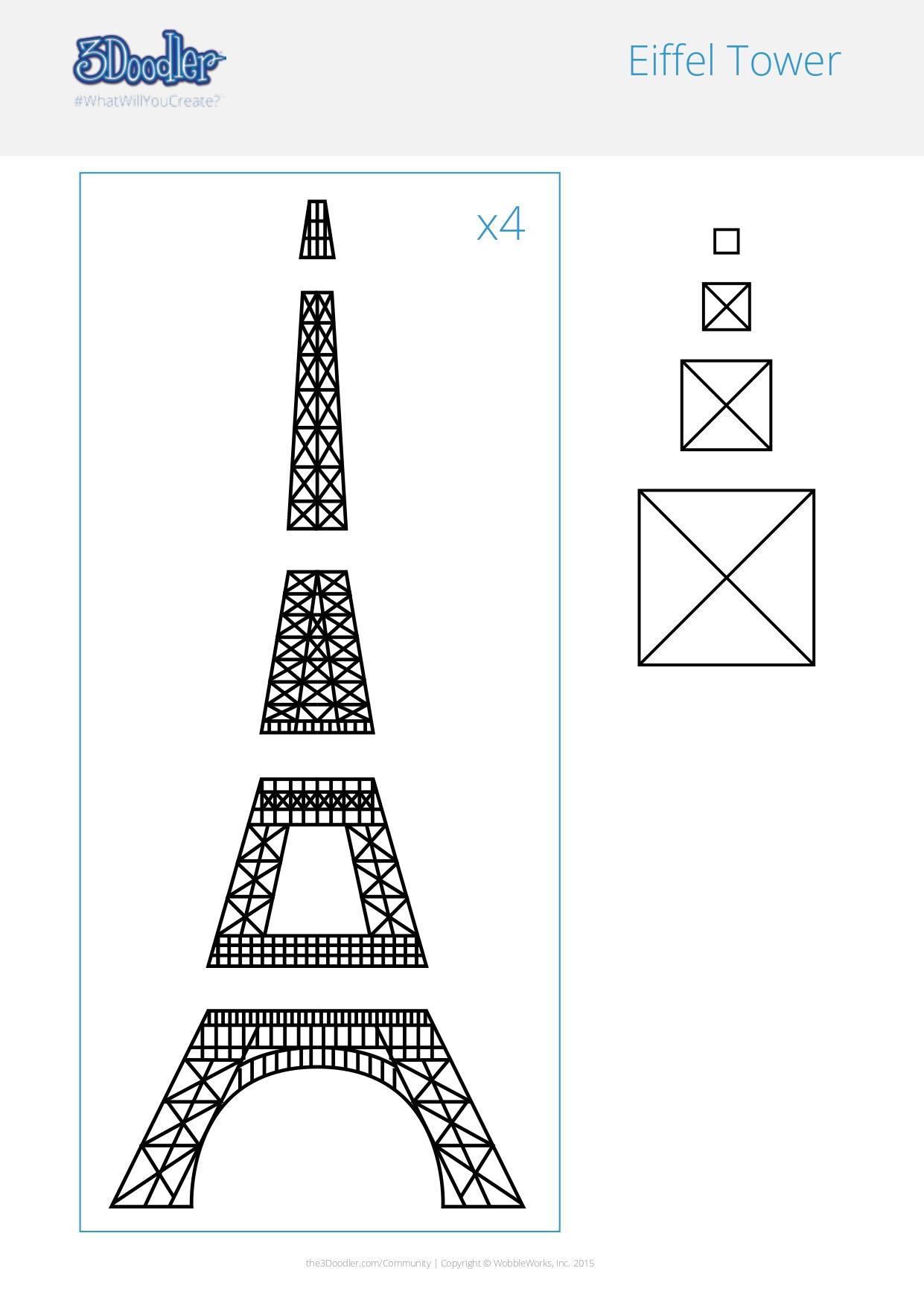 3D Pen Stencil Template Eiffel Tower