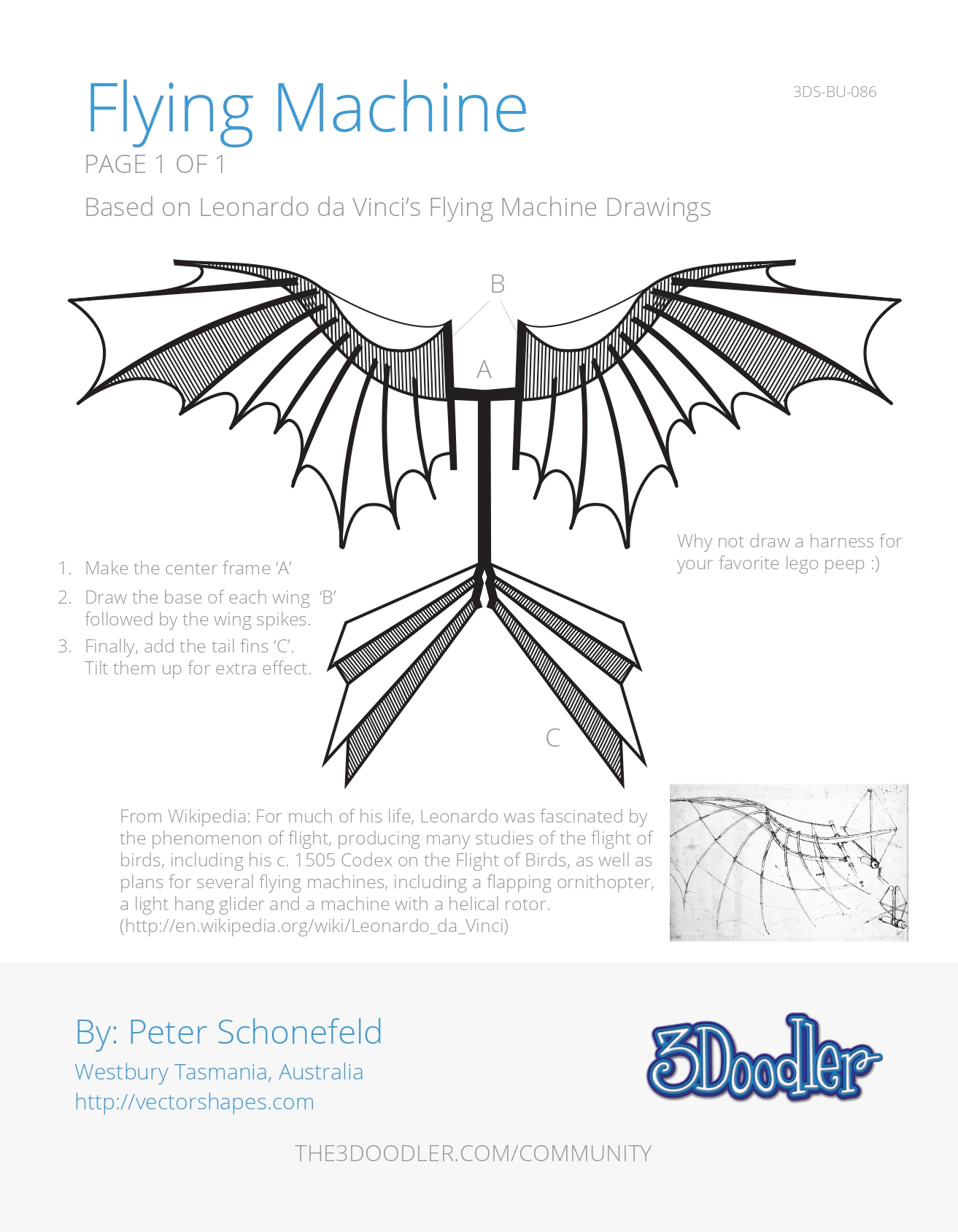 3D Pen Stencil Template Flying Machine