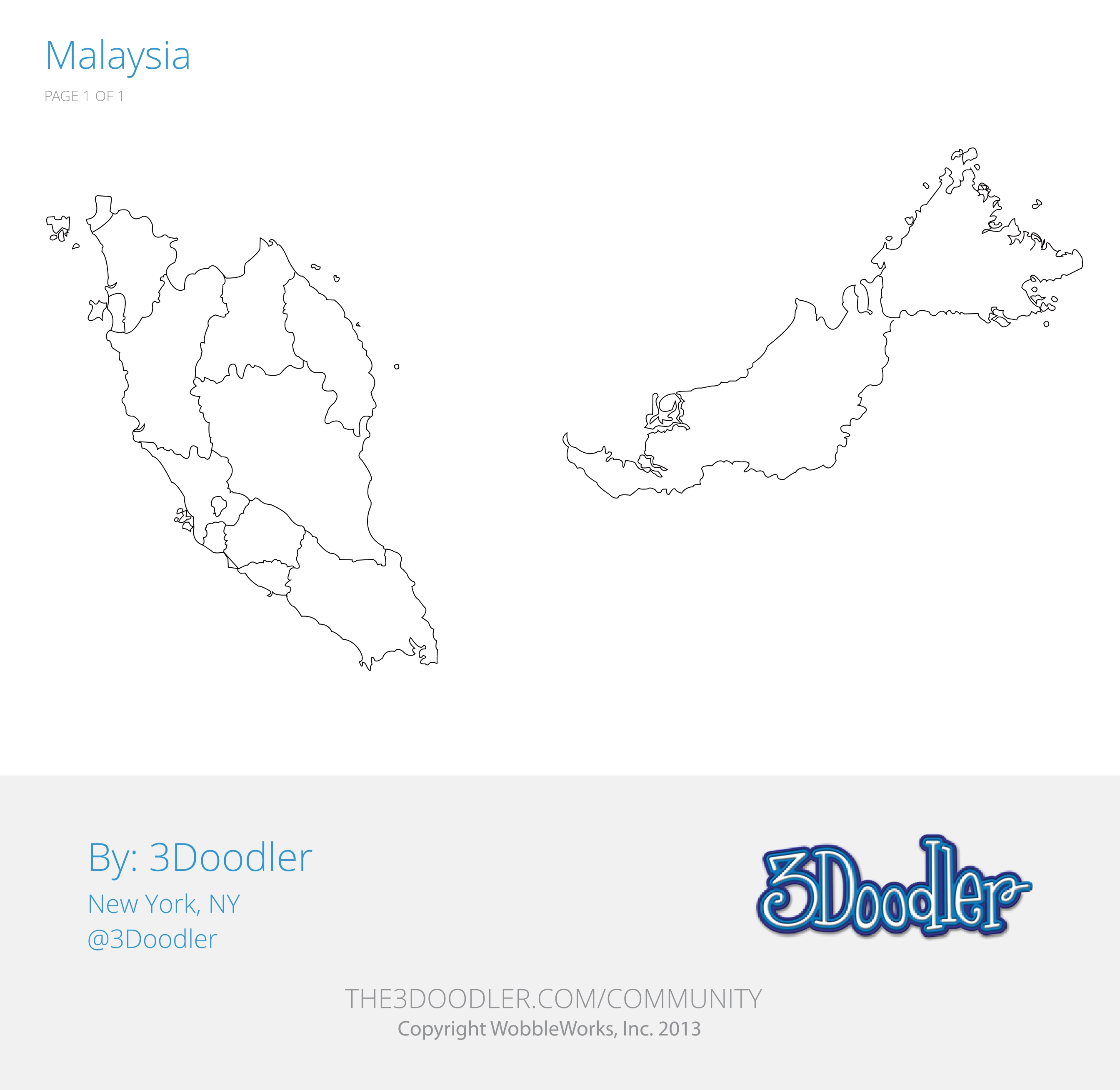 3D Pen Stencil Template Map of Malaysia