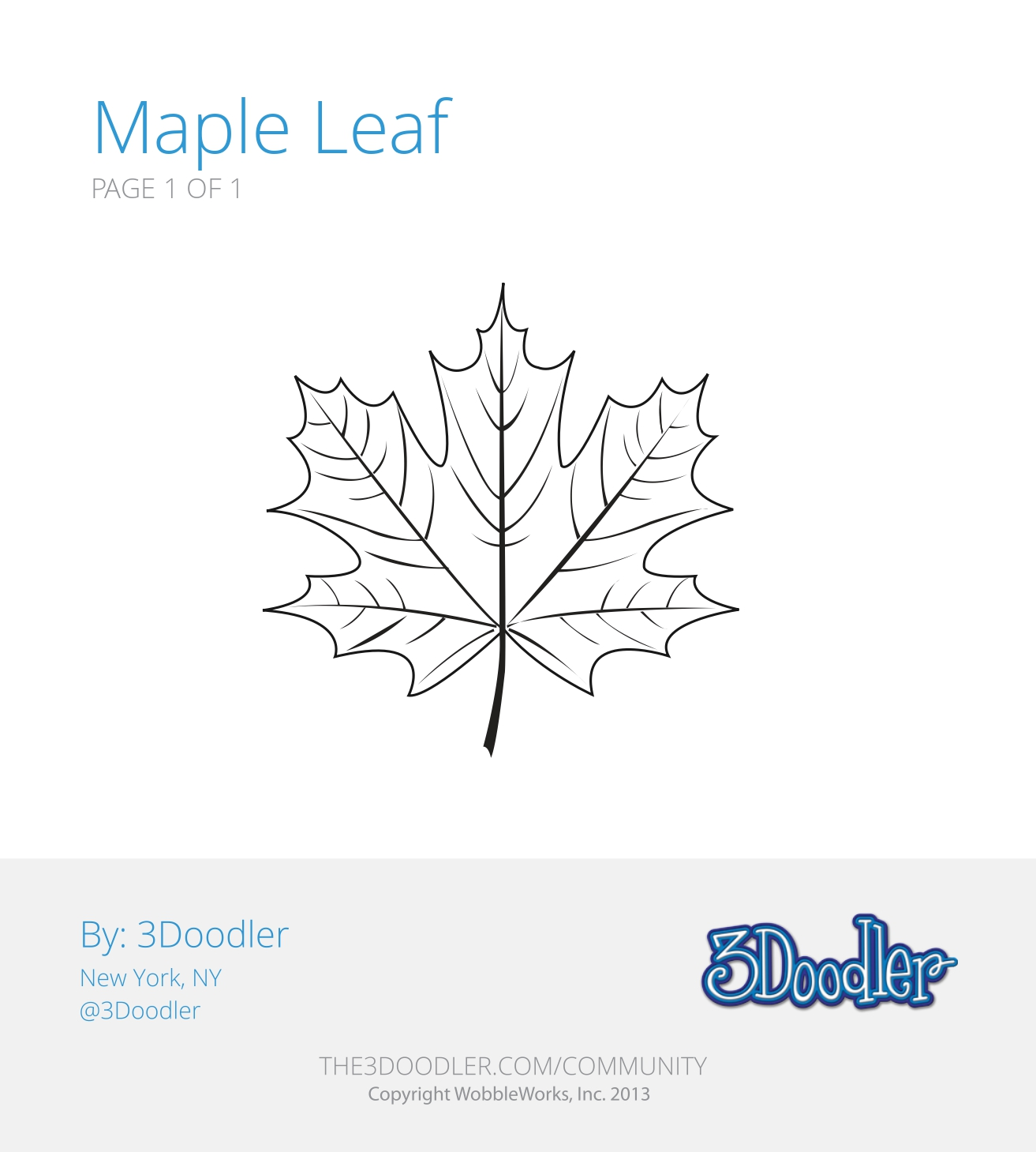3D Pen Stencil Template Maple Leaf