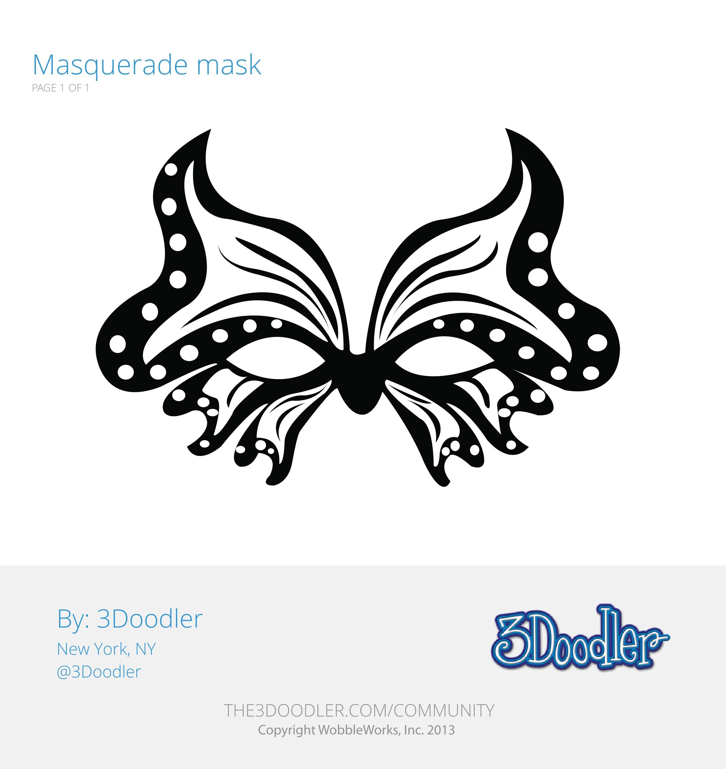 3D Pen Stencil Template Masquerade Mask