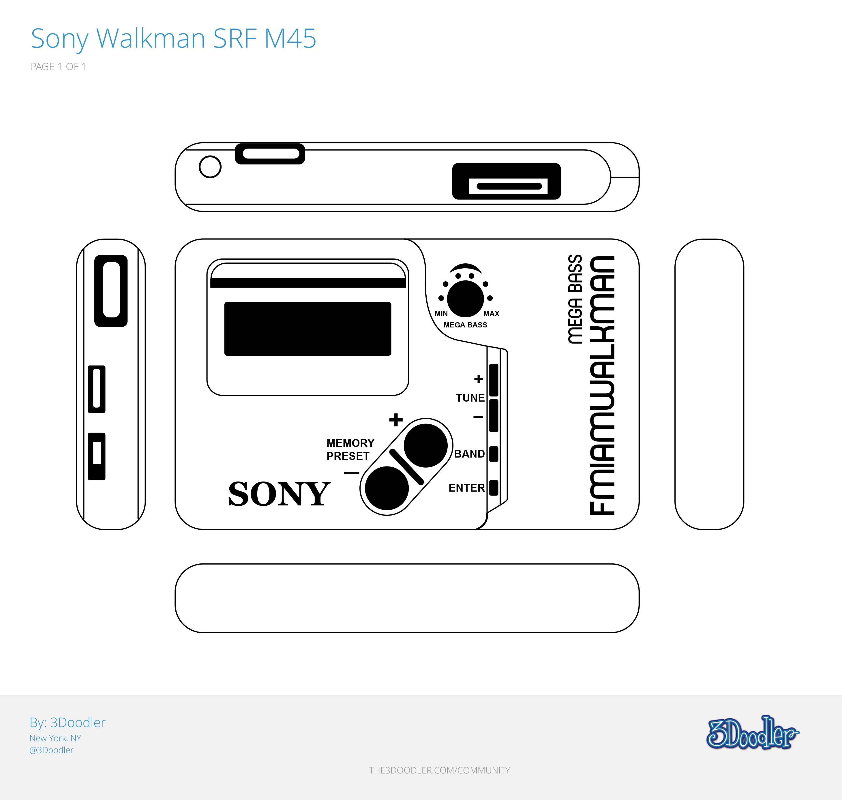 3D Pen Stencil Template Sony Walkman SRF M45