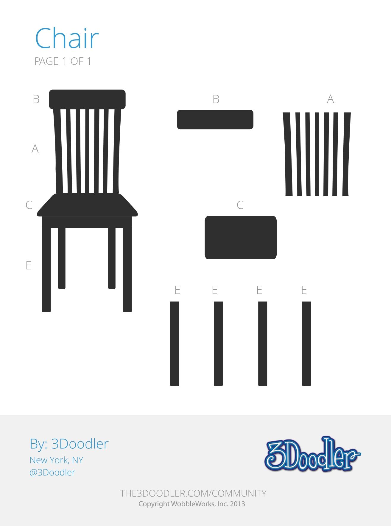 3D Pen Stencil Template Chair