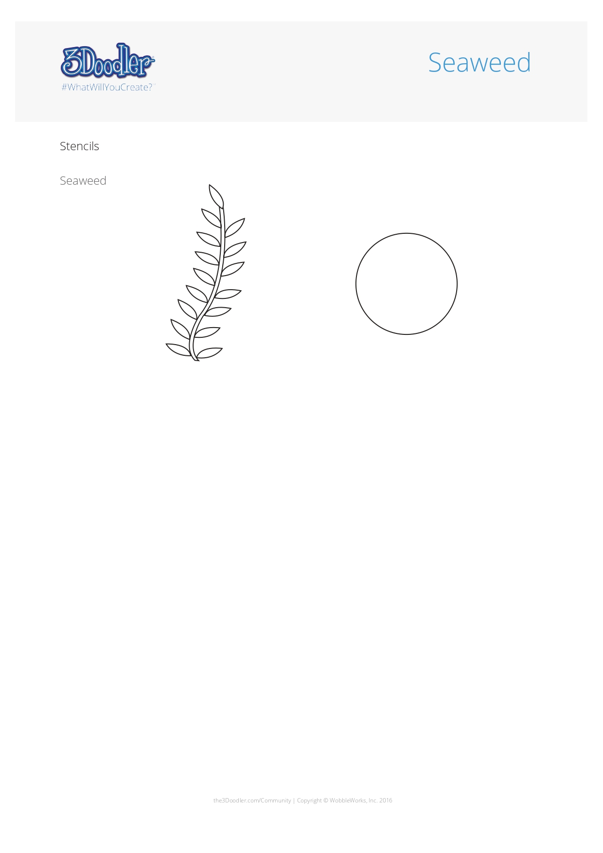 3D Pen Stencil Template Seaweed