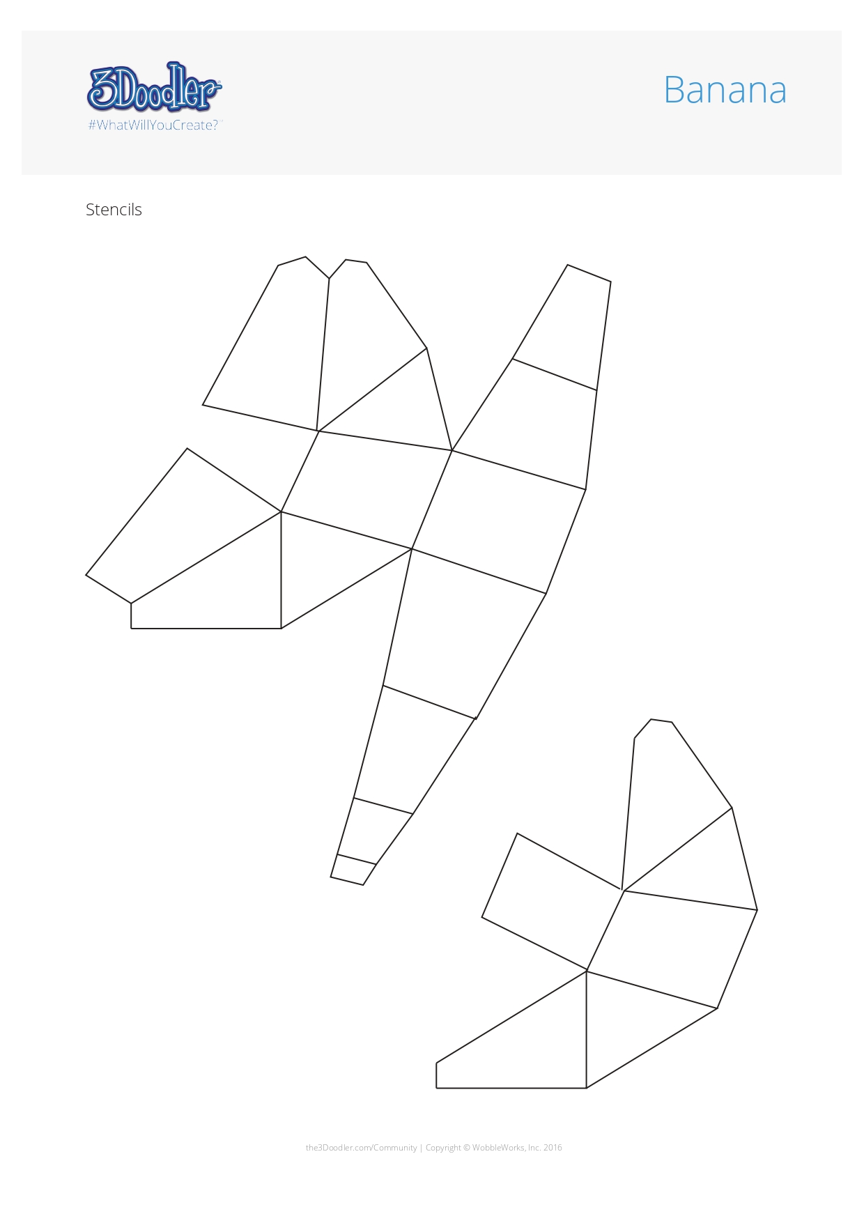 3D Pen Stencil Template Banana Geometric Fruit