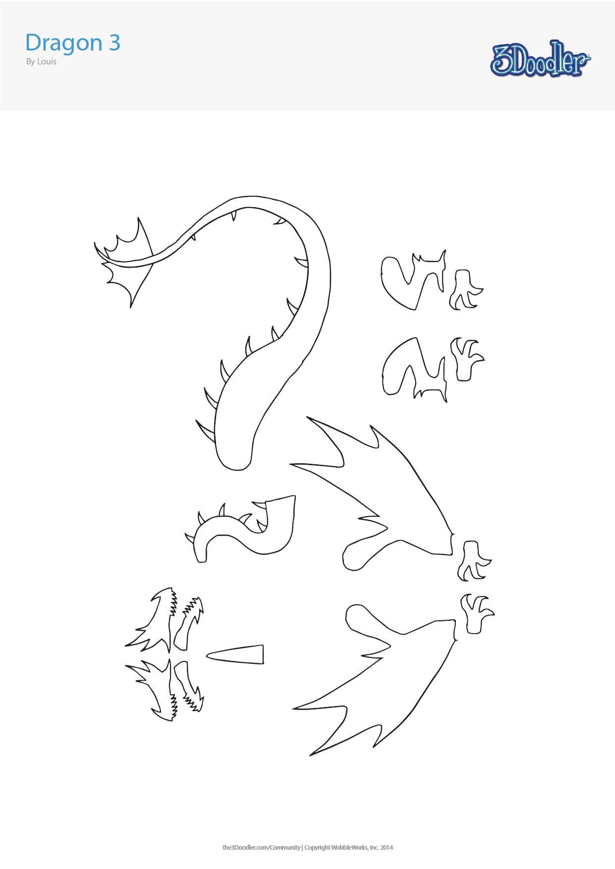 3D Pen Stencil Template Dragon 3