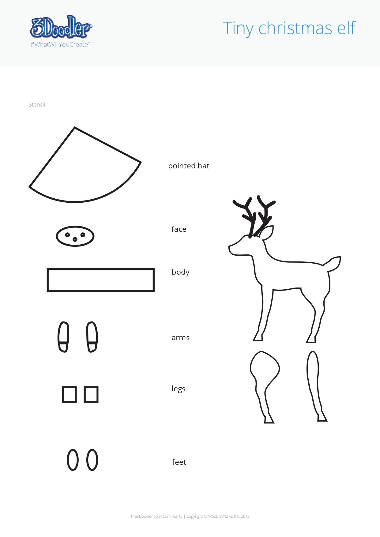 3D Pen Stencil Template Elf